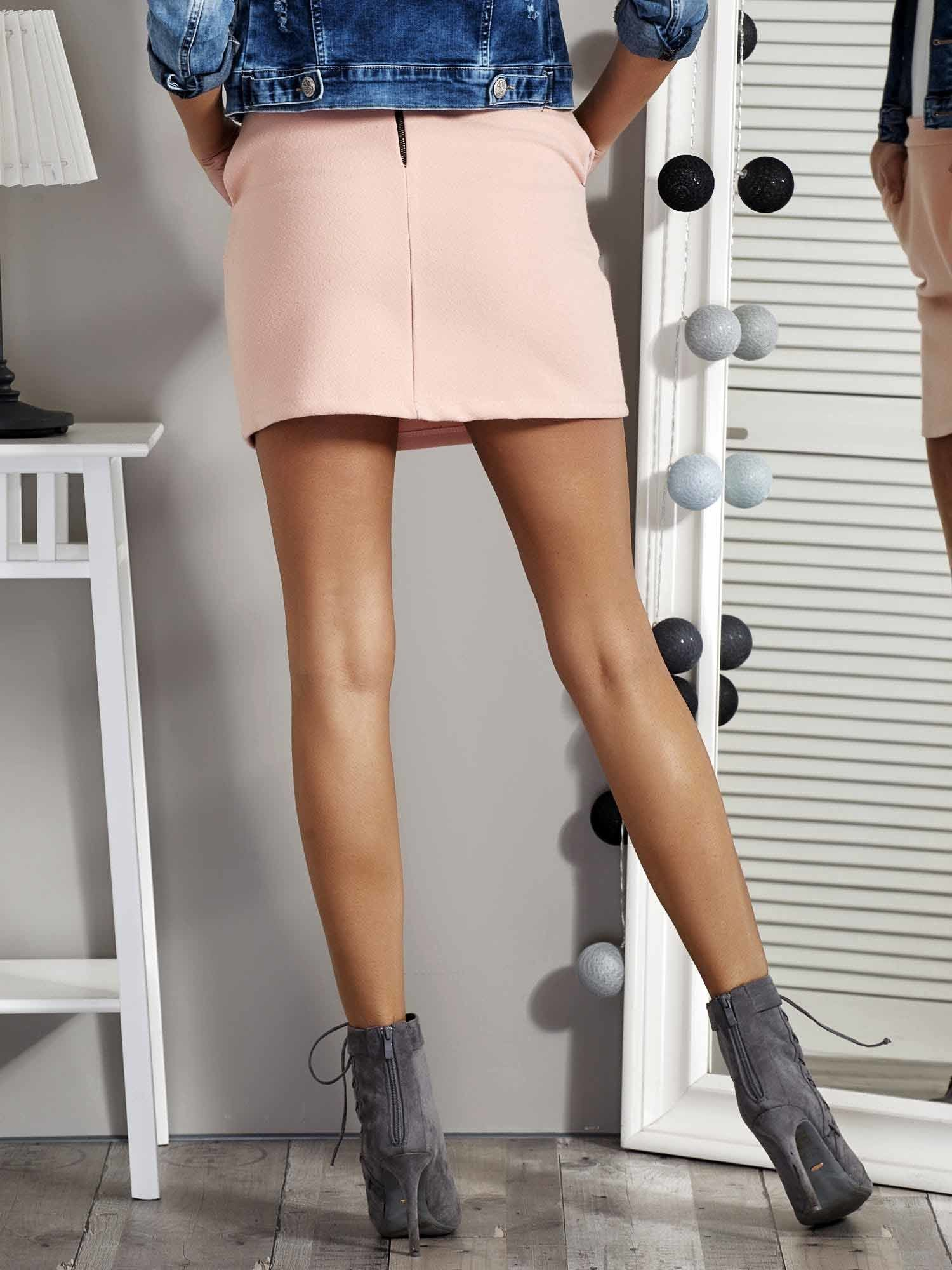 3245029a42 Różowa spódnica mini z kieszeniami - Spódnica dresowa - sklep eButik.pl