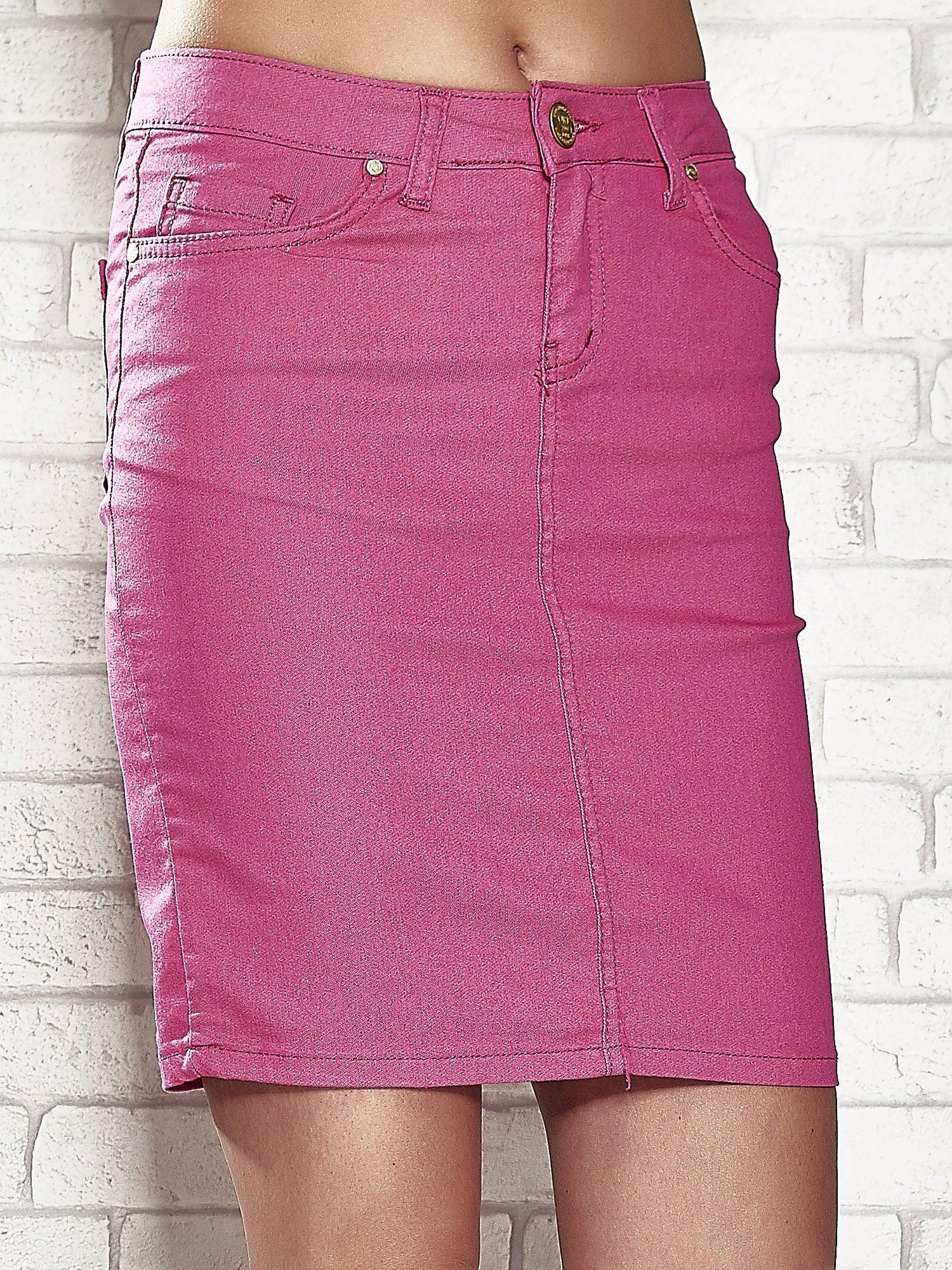 Różowa spódnica z zapięciem na guzik                                  zdj.                                  5