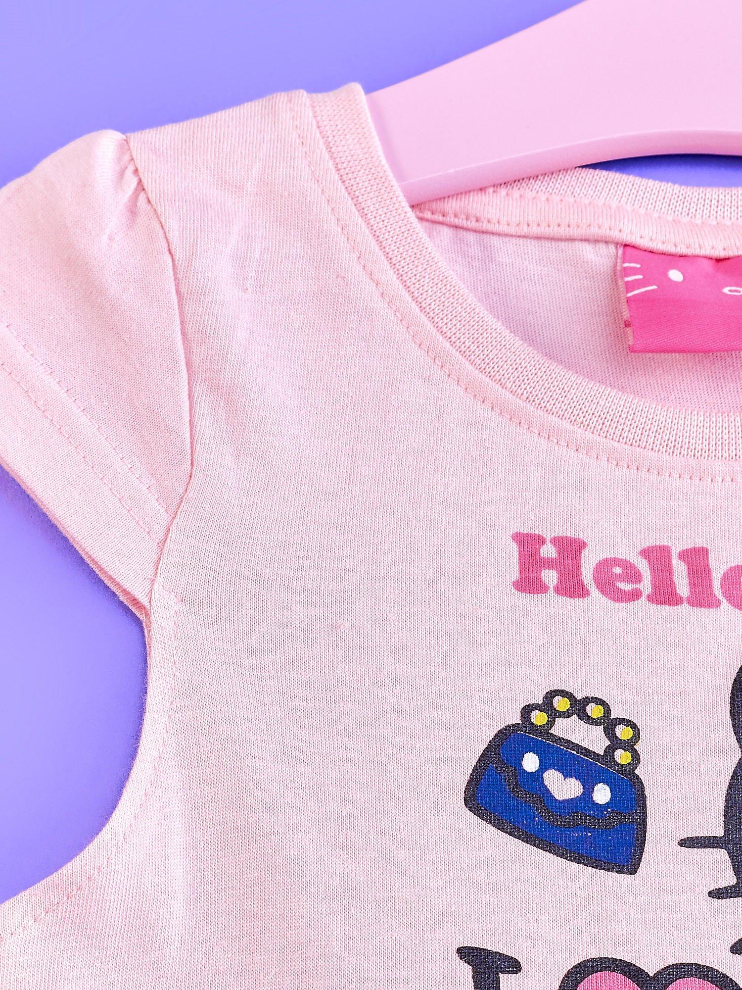 Różowa sukienka dla dziewczynki z kolorowymi falbankami HELLO KITTY                                  zdj.                                  3