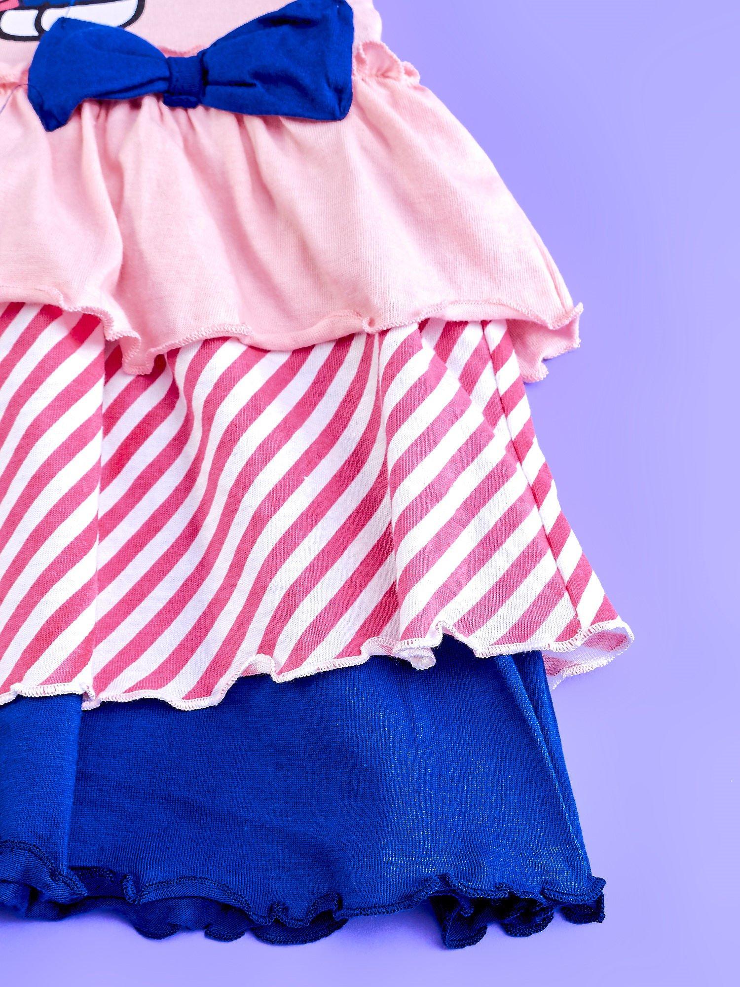 Różowa sukienka dla dziewczynki z kolorowymi falbankami HELLO KITTY                                  zdj.                                  5