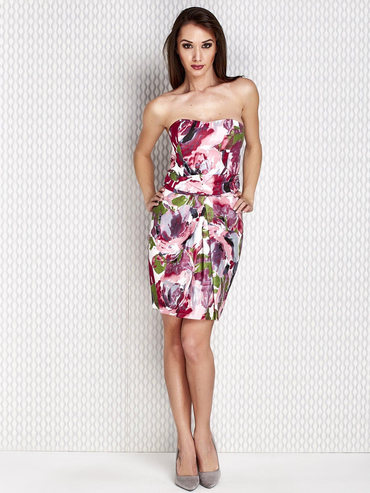 05689ad43a Różowa sukienka koktajlowa w malarskie desenie - Sukienka koktajlowa -  sklep eButik.pl