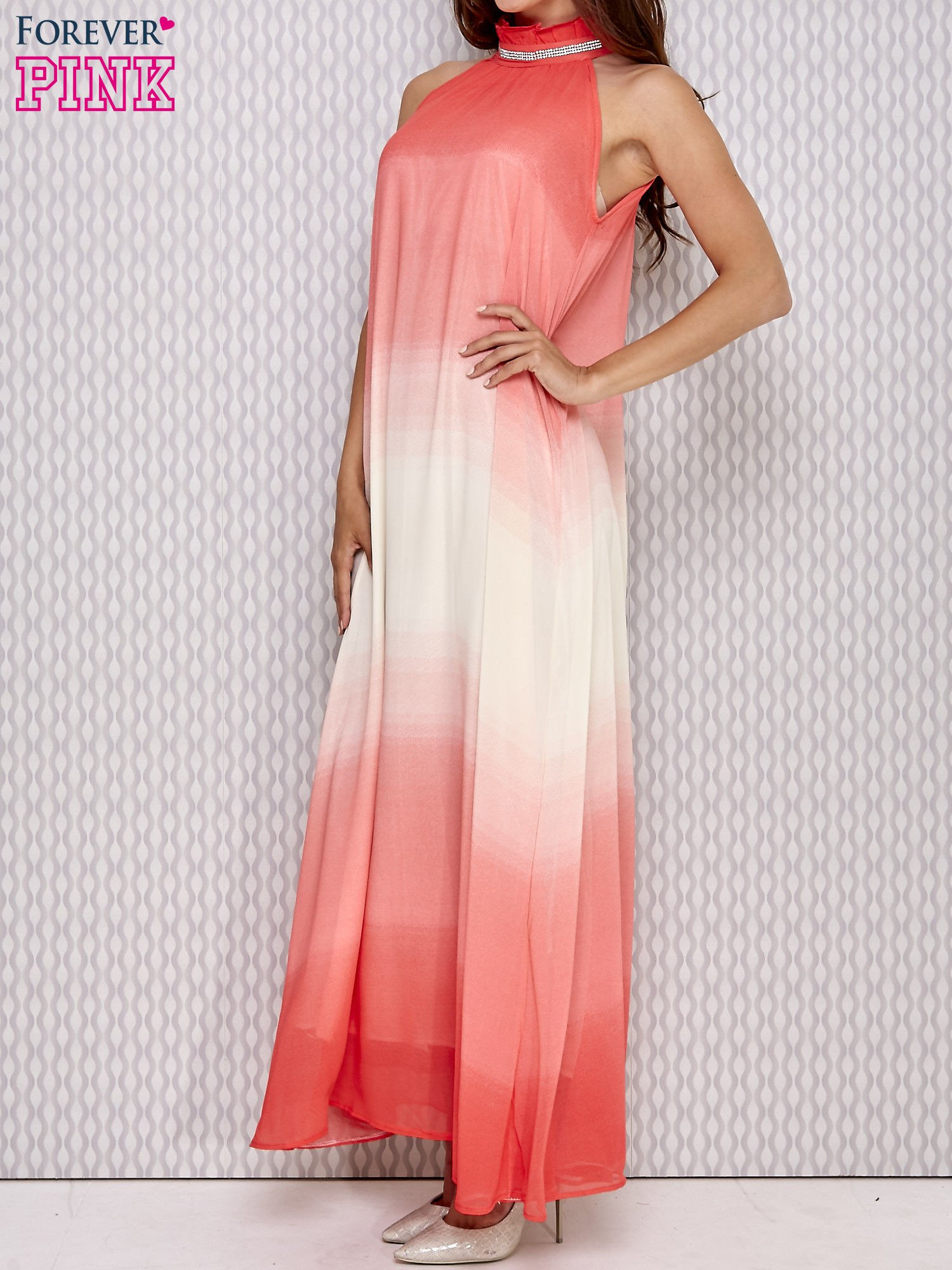 Różowa sukienka maxi z wiązaniem na plecach                                  zdj.                                  3