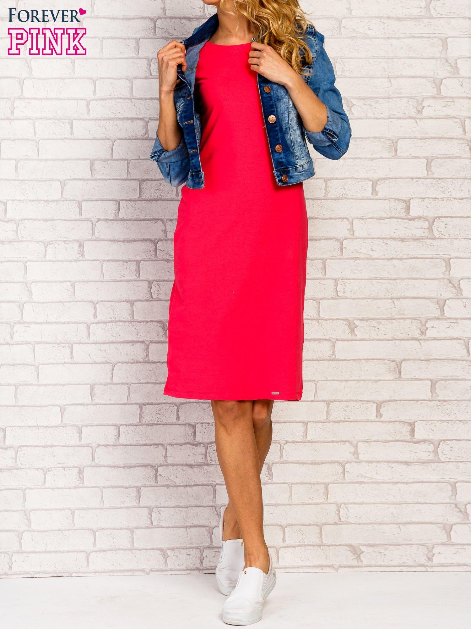 Różowa sukienka z rozcięciami na rękawach                                  zdj.                                  5