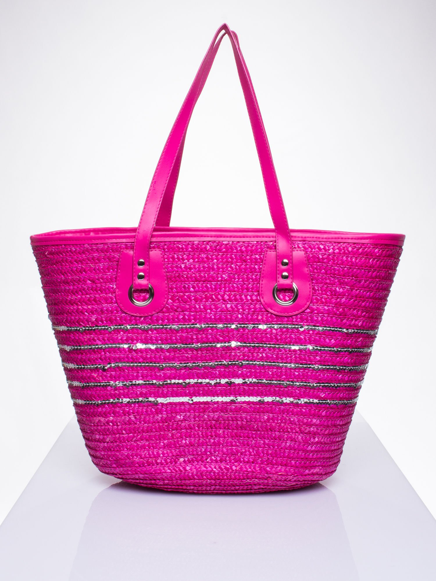 Różowa torba koszyk plażowy z cekinami                                  zdj.                                  1