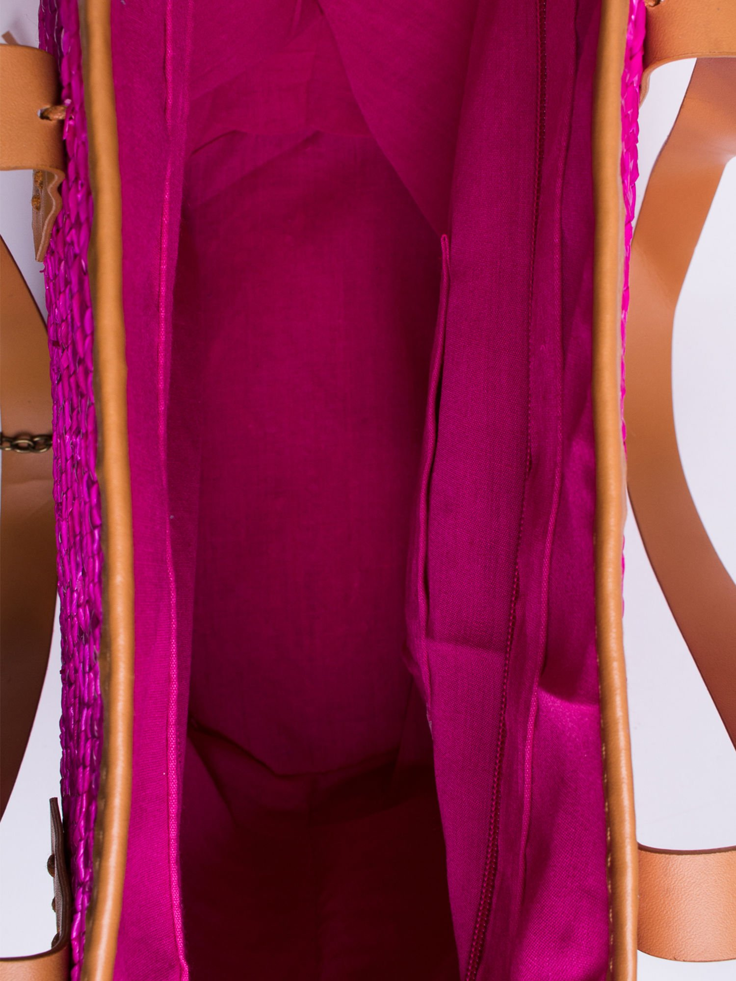 Różowa torba koszyk plażowy ze skórzanymi rączkami                                  zdj.                                  5