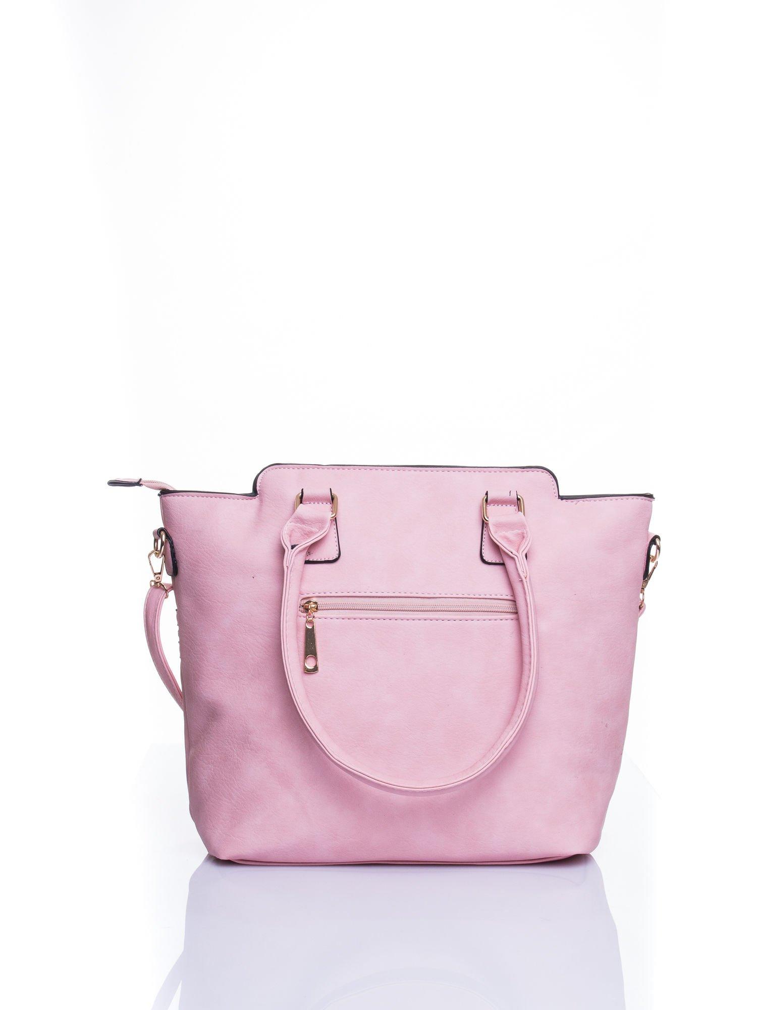 Różowa torba ze złotymi wykończeniami                                  zdj.                                  3