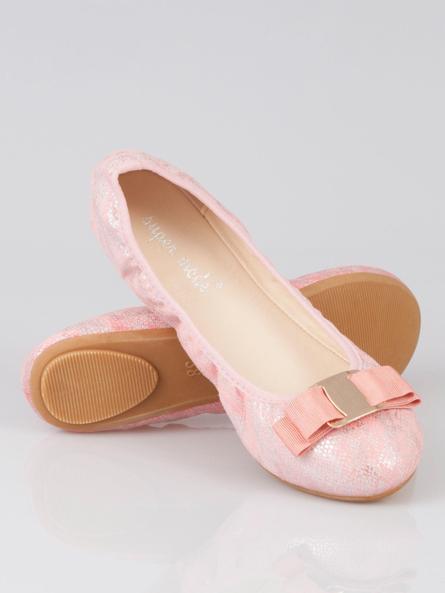 Różowe baleriny sparkling melange na gumkę                                   zdj.                                  4