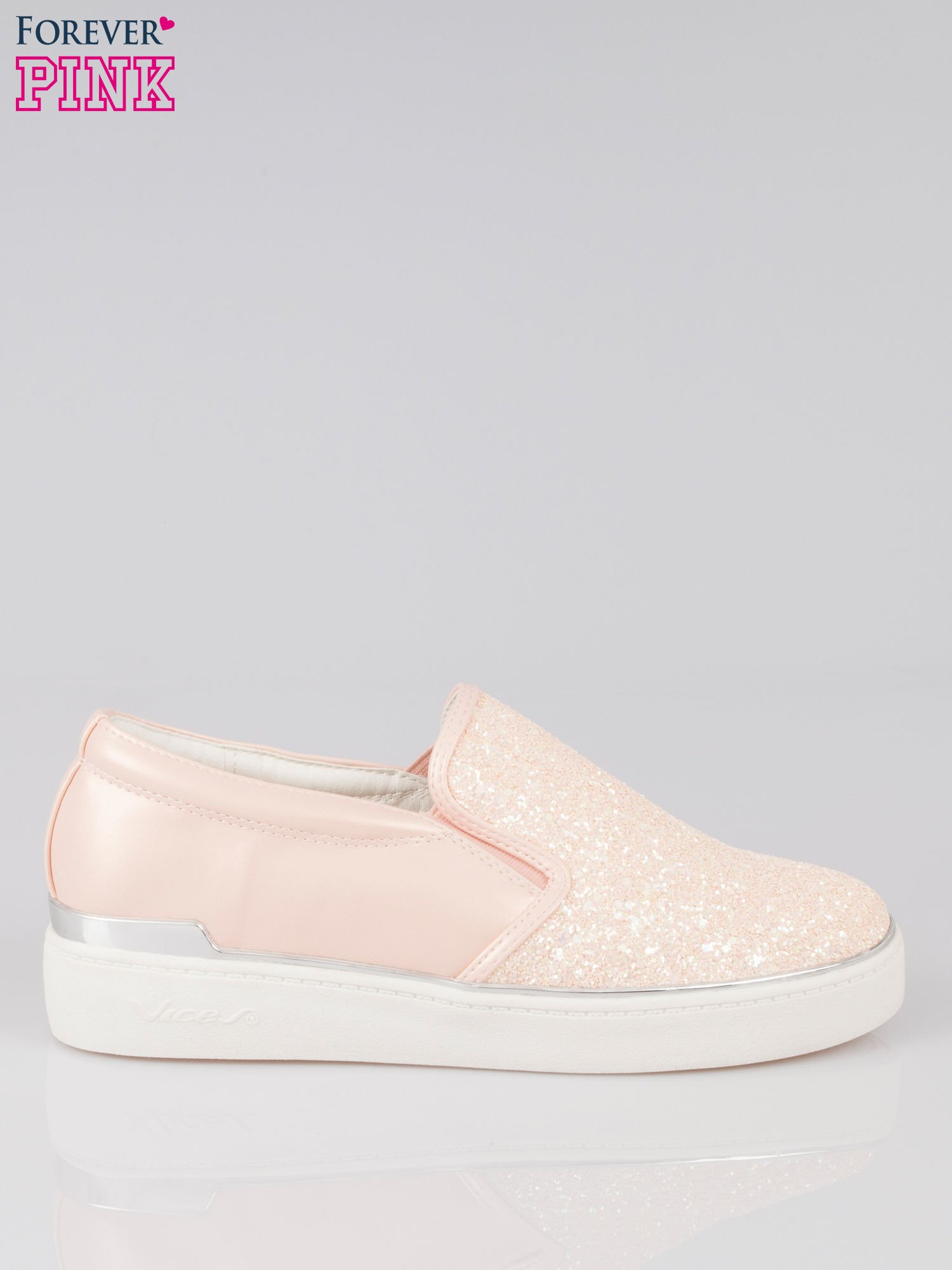 Różowe buty sliponki glitter                                  zdj.                                  1