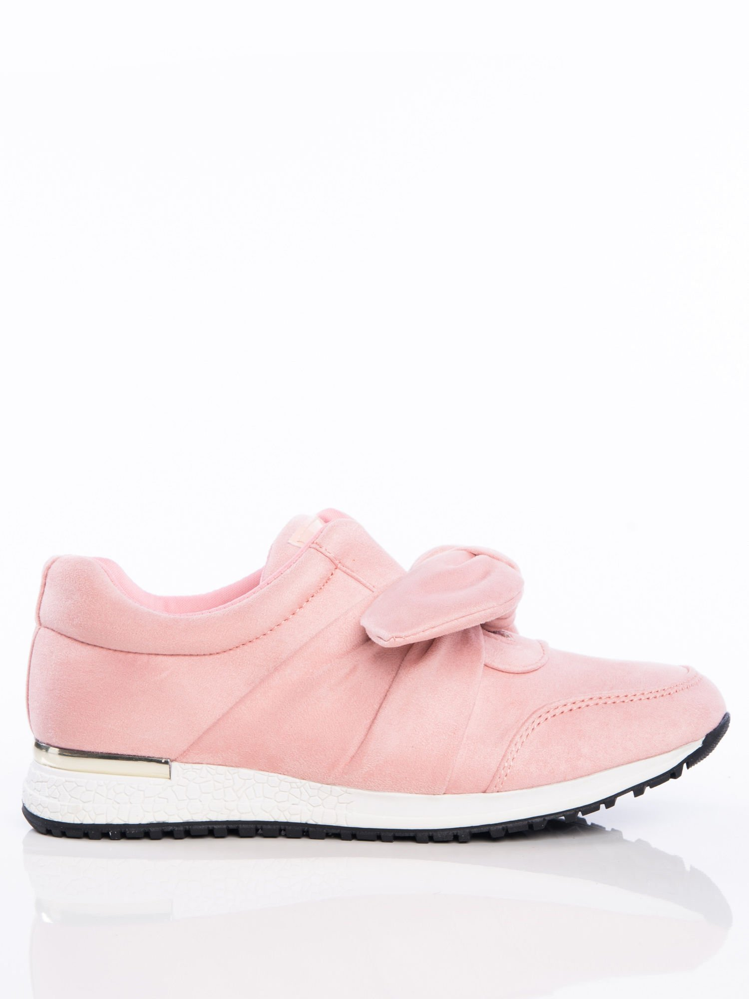 7eb498317fddad Różowe buty sportowe z ozdobną kokardką na sprężystej podeszwie ze złotą  wstawką na pięcie ...