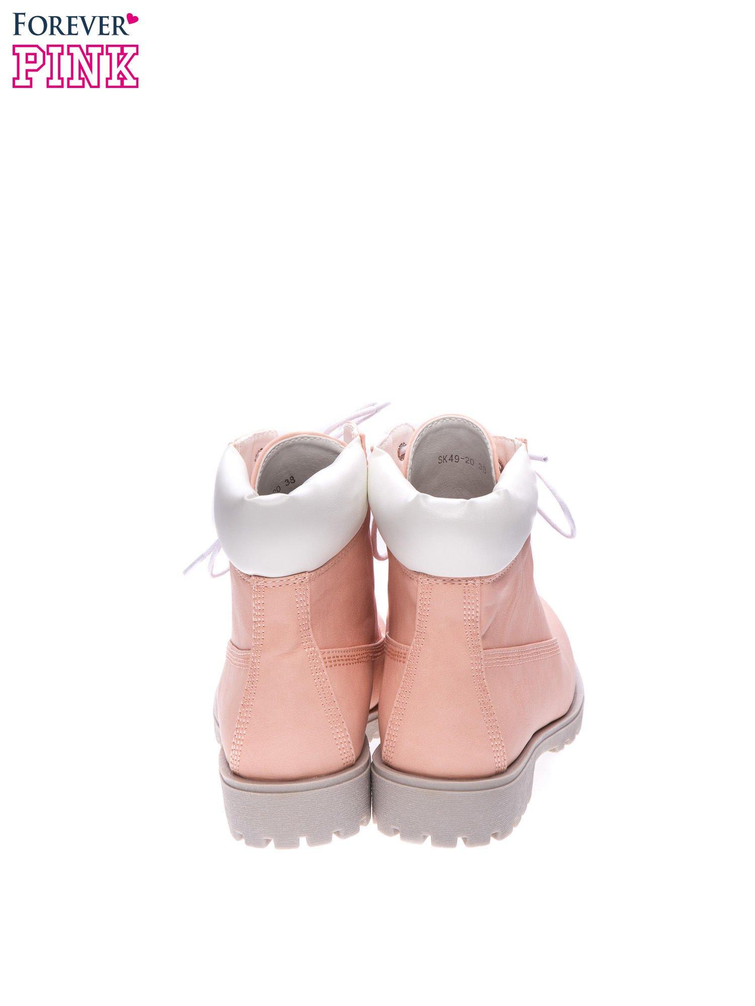 Różowe buty trekkingowe damskie typu timberki                                  zdj.                                  3