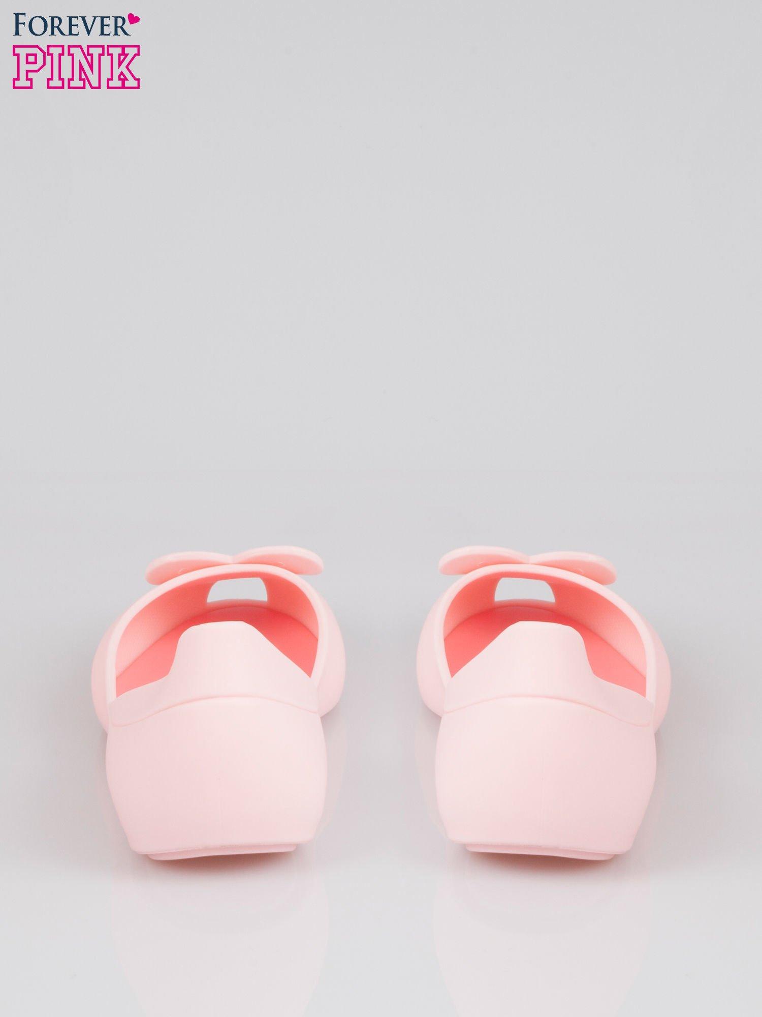 Różowe gumowe baleriny meliski z sercem                                  zdj.                                  3