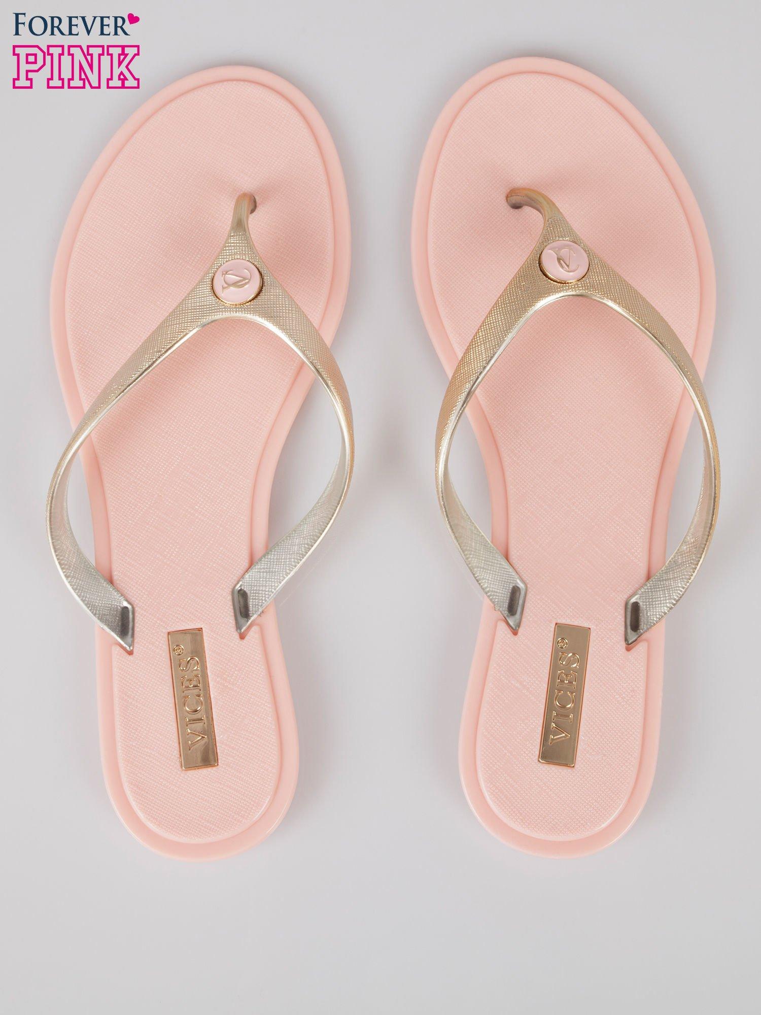 Różowe japonki silicone Summertime ze złotym paskiem                                  zdj.                                  3