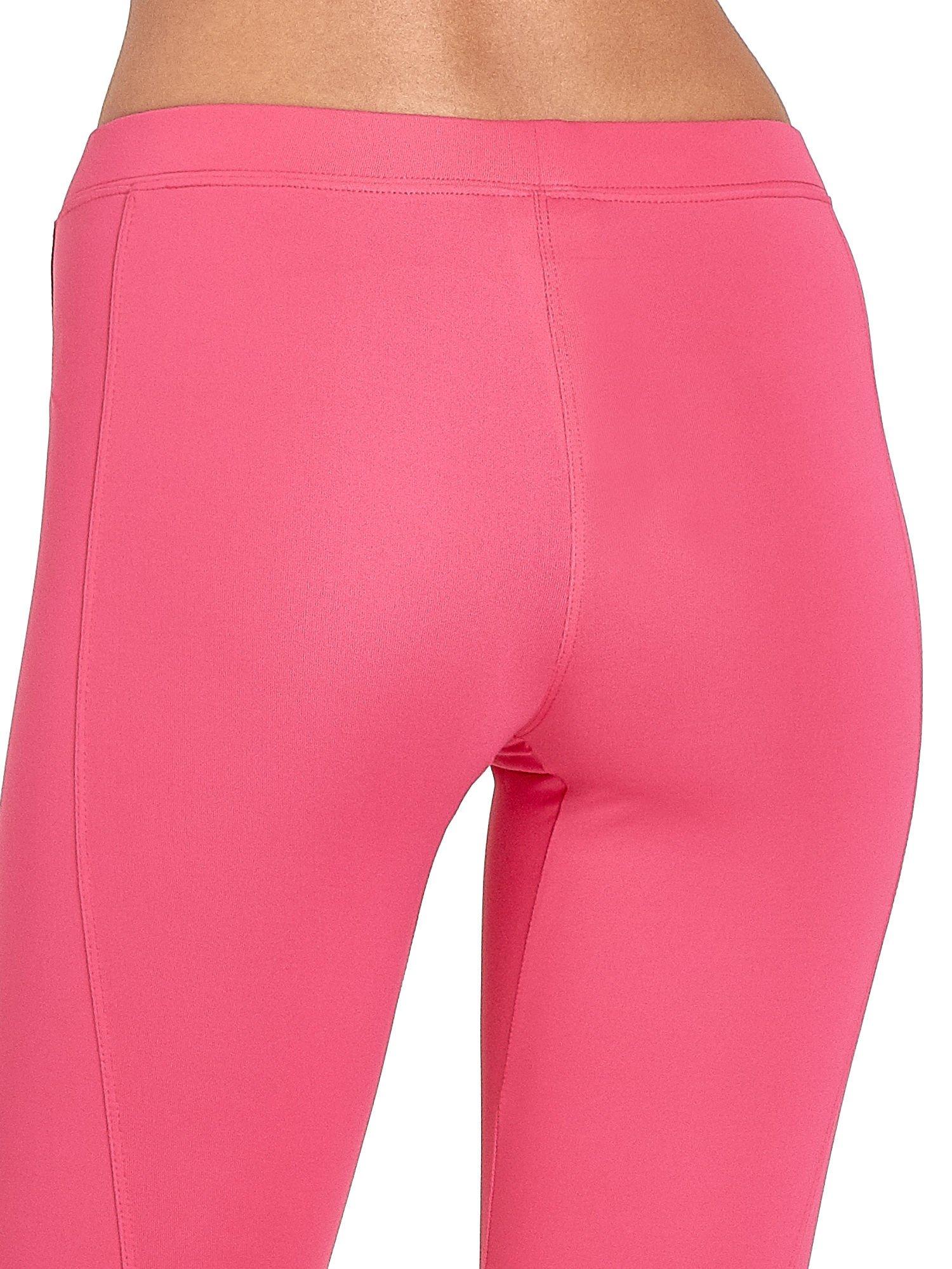 Różowe legginsy sportowe termalne z drapowaniem                                  zdj.                                  6