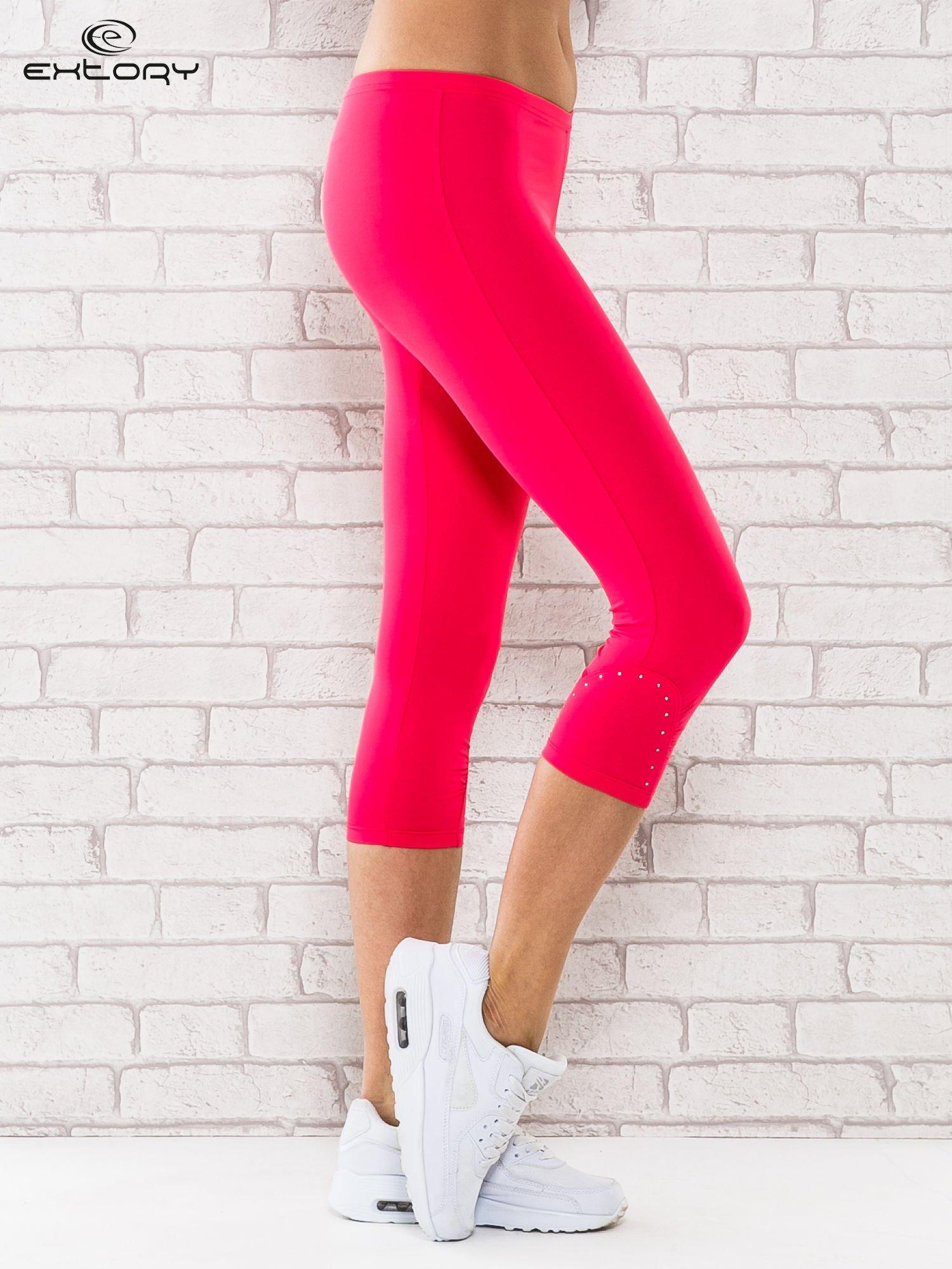 Różowe legginsy sportowe termalne z dżetami na nogawkach                                  zdj.                                  2