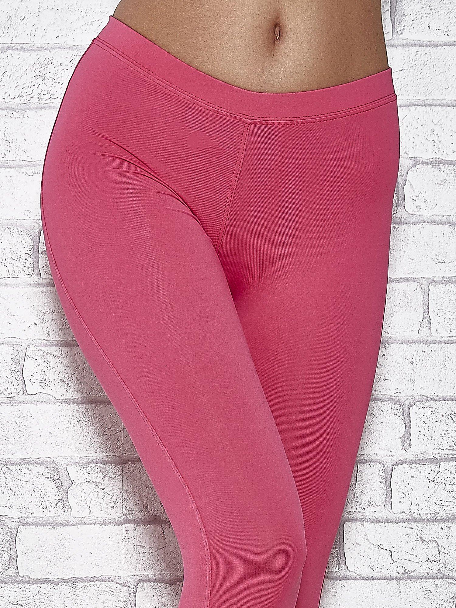 Różowe legginsy sportowe z dżetami na dole nogawki                                  zdj.                                  4
