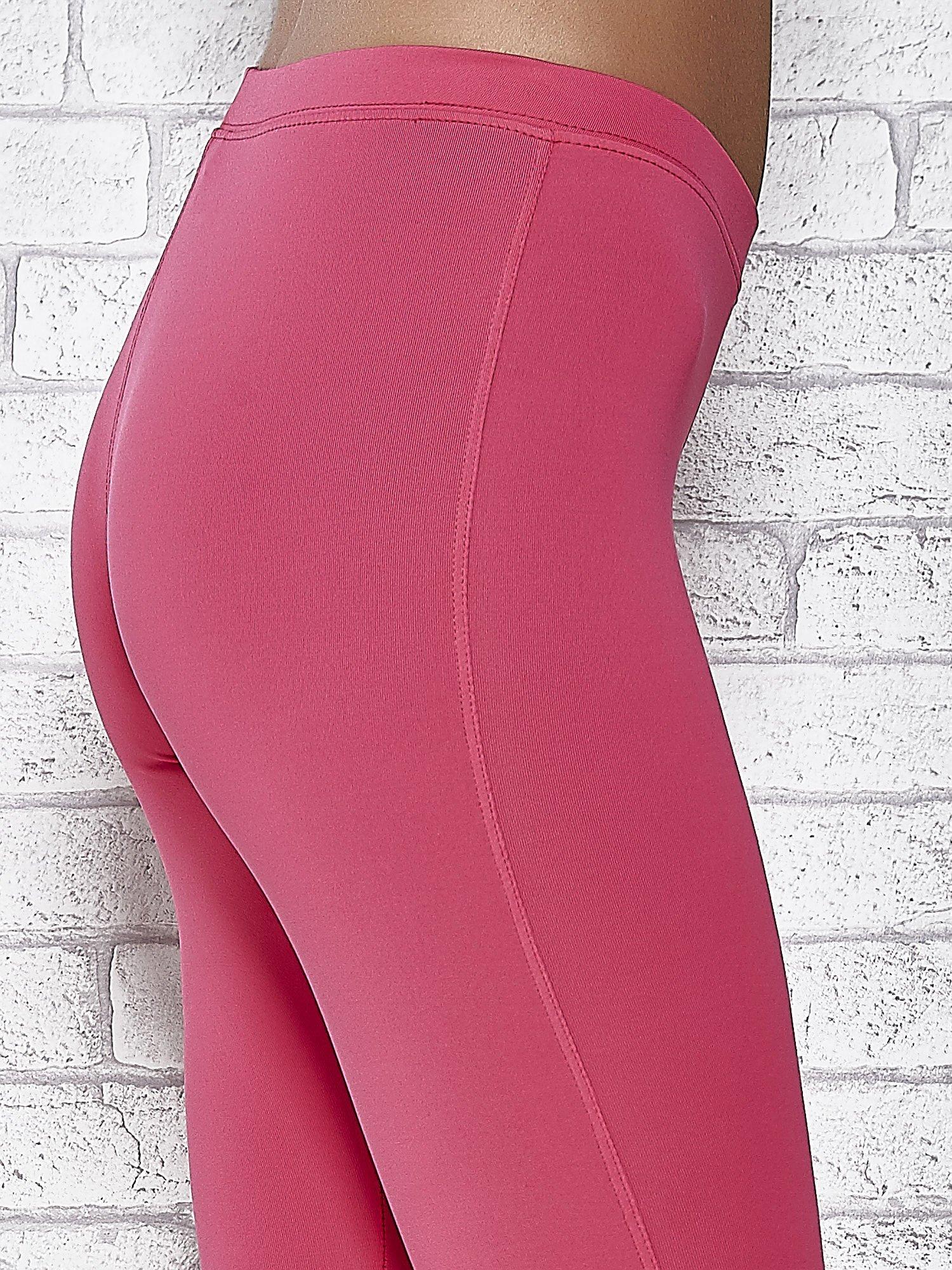 Różowe legginsy sportowe z dżetami na dole nogawki                                  zdj.                                  6