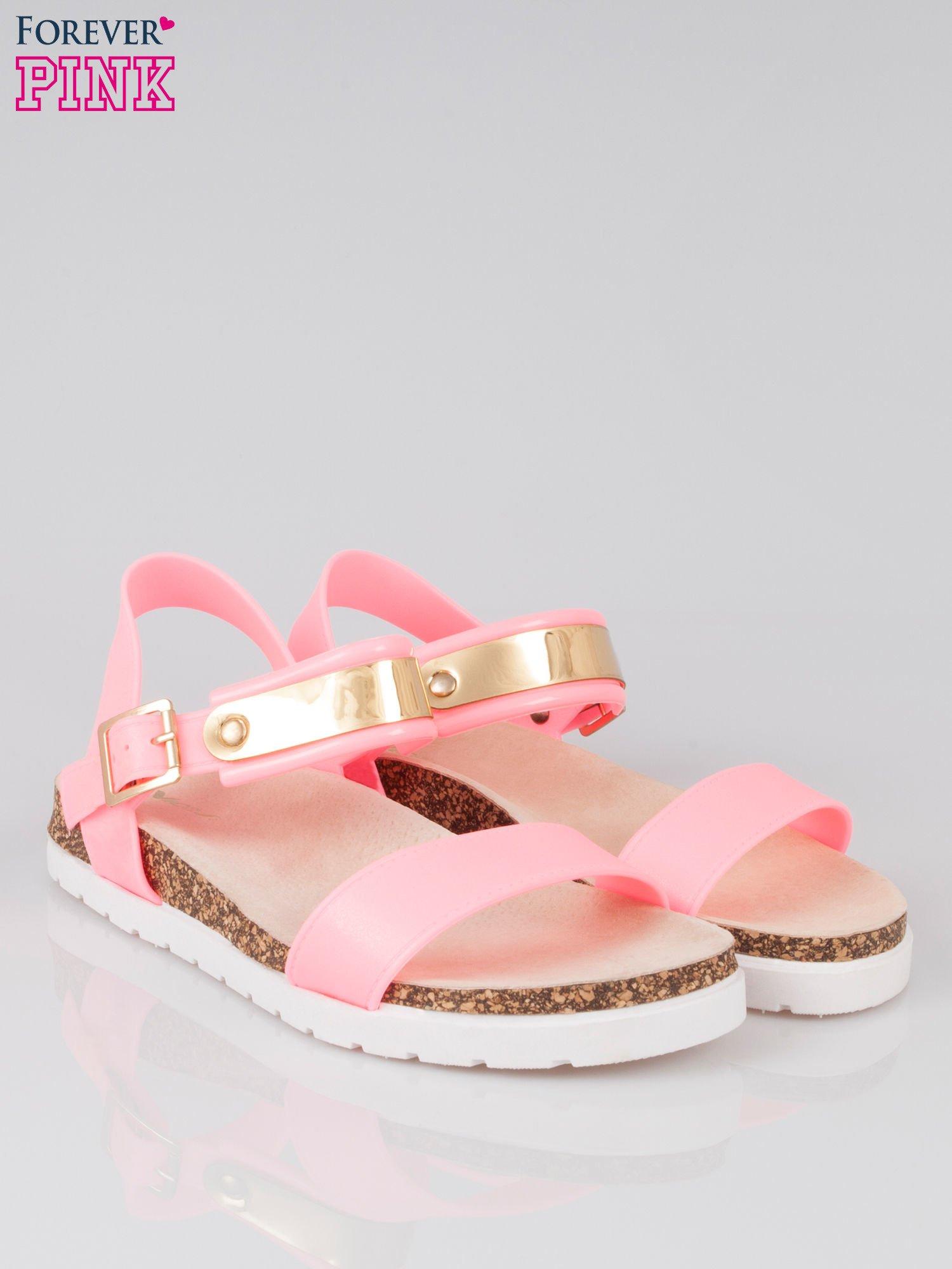 Różowe sandały damskie z blaszką                                  zdj.                                  2