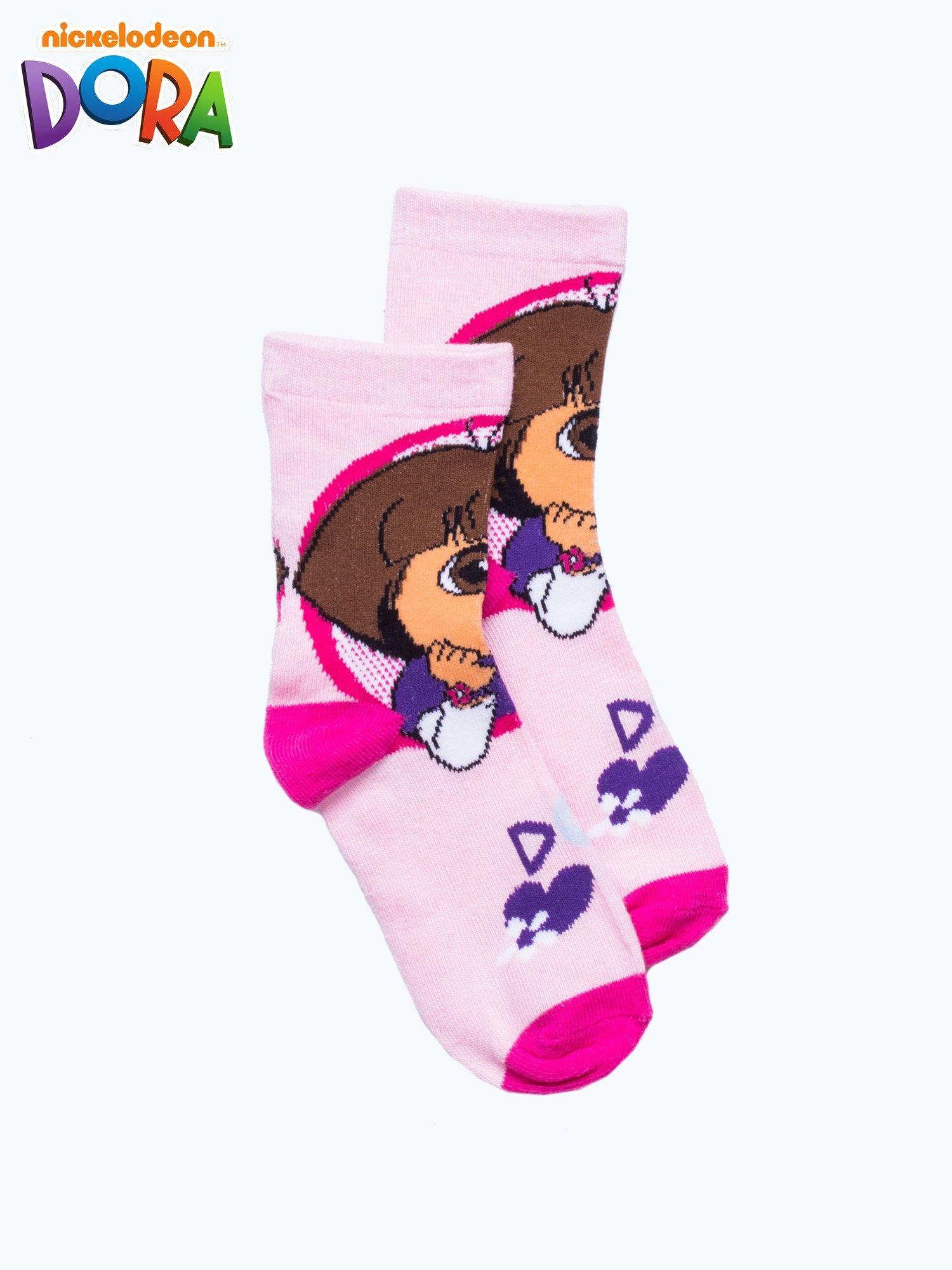 Różowe skarpetki dla dziewczynki DORA                                  zdj.                                  1