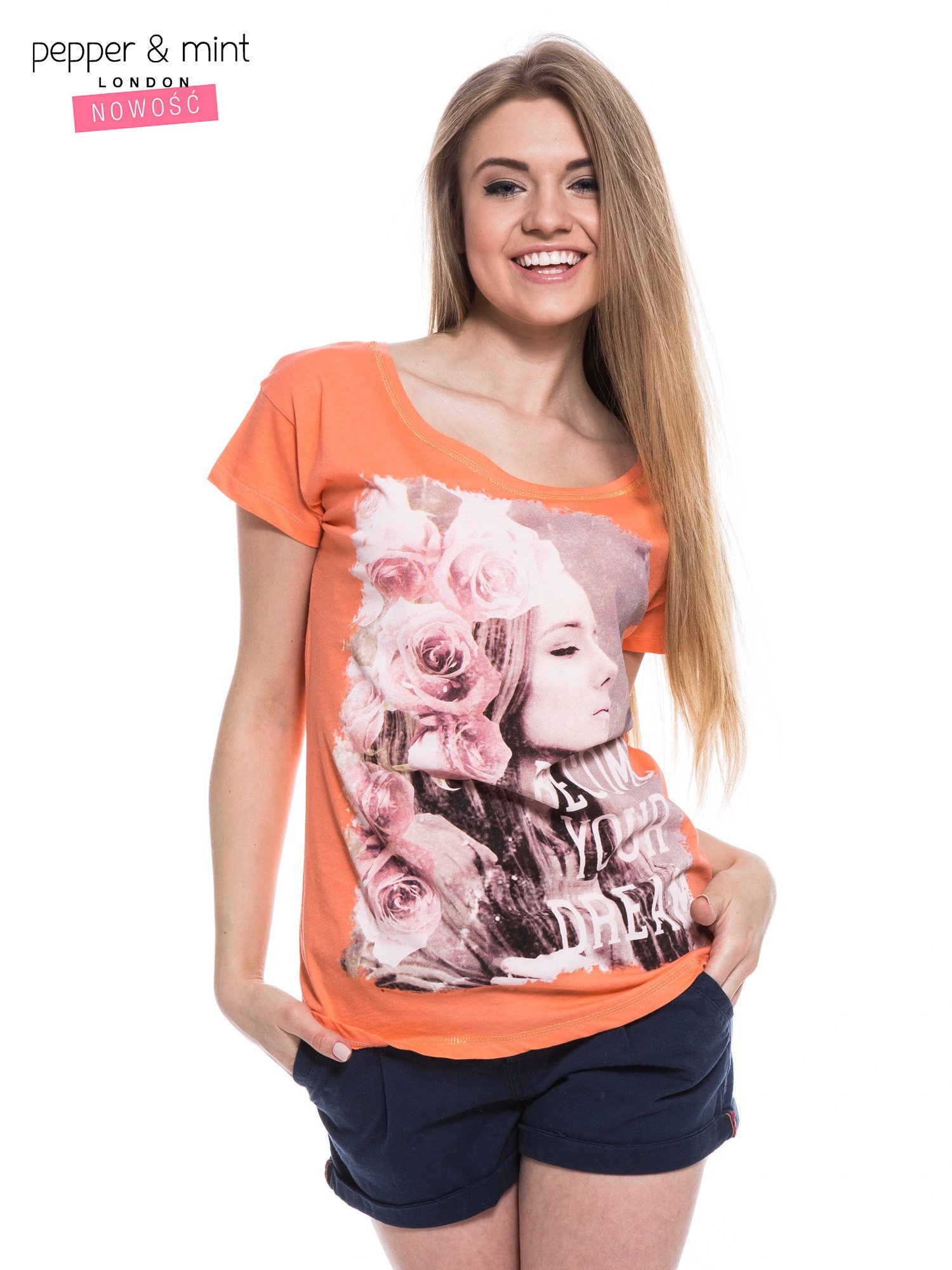 Różowopomarańczowy t-shirt z nadrukiem dziewczyny                                  zdj.                                  2