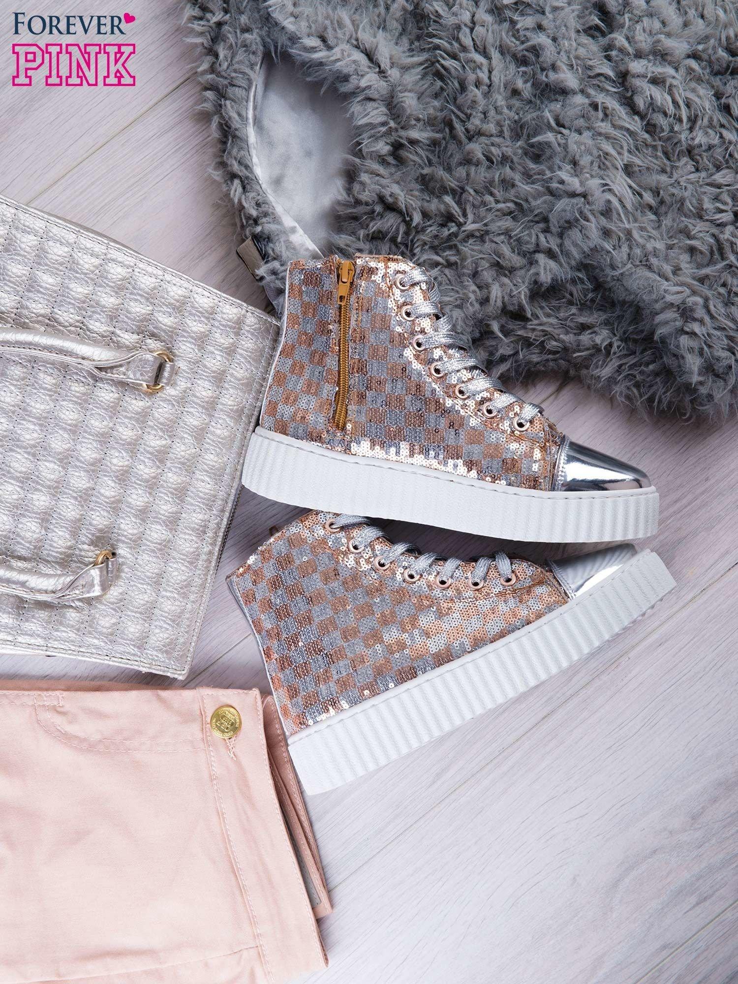 Różowosrebrne sneakersy Kailey z cekinami w szachownicę                                  zdj.                                  1