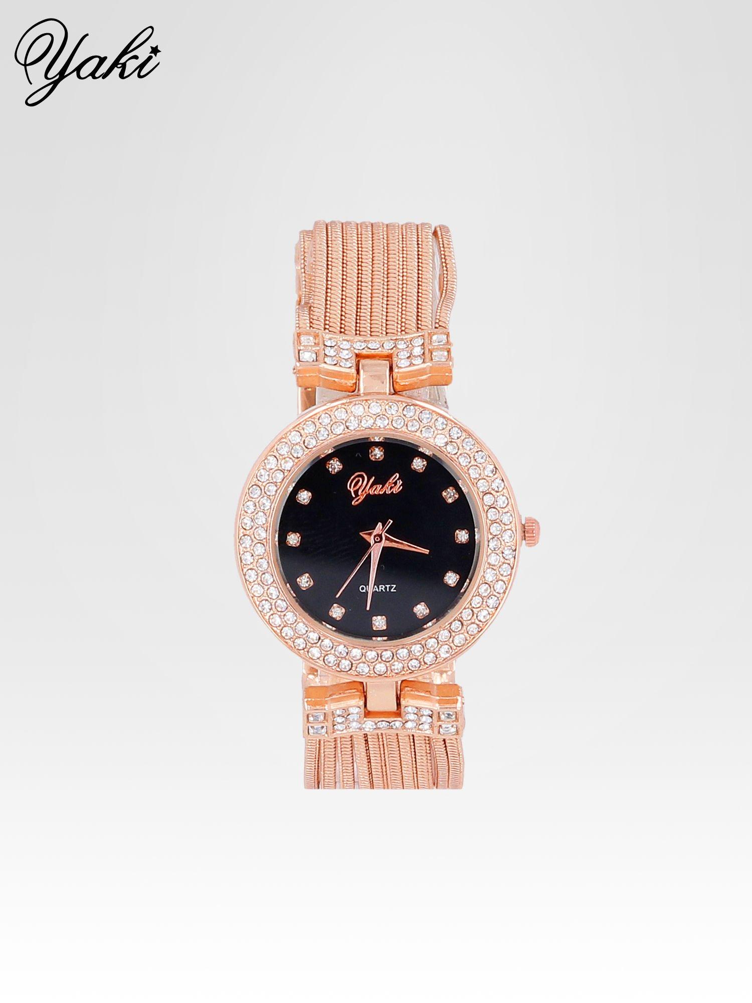 Różowozłoty zegarek damski na bransolecie z łańcuszków z czarną  tarczą                                  zdj.                                  1