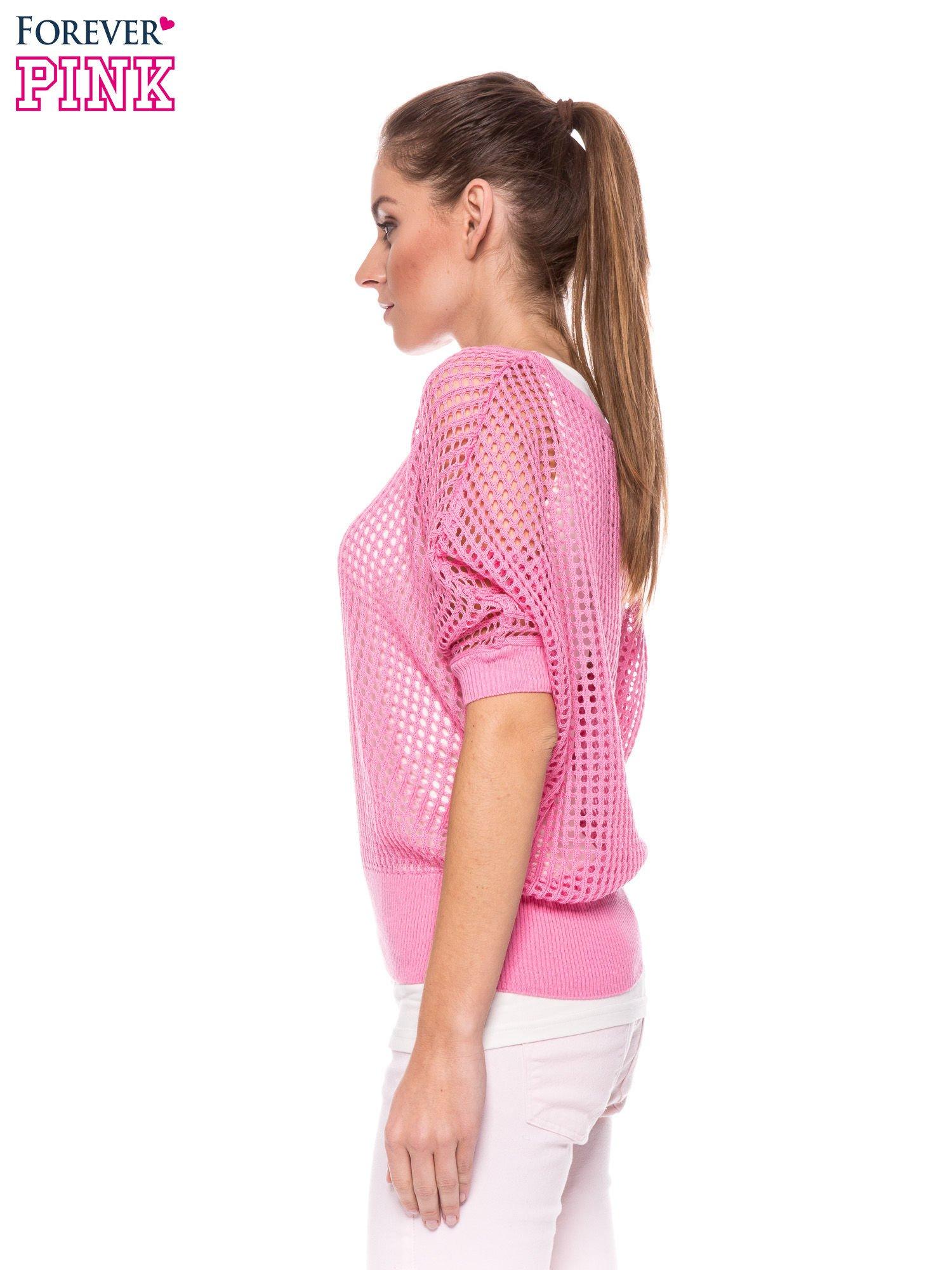 Różowy ażurowy sweter oversize                                  zdj.                                  3