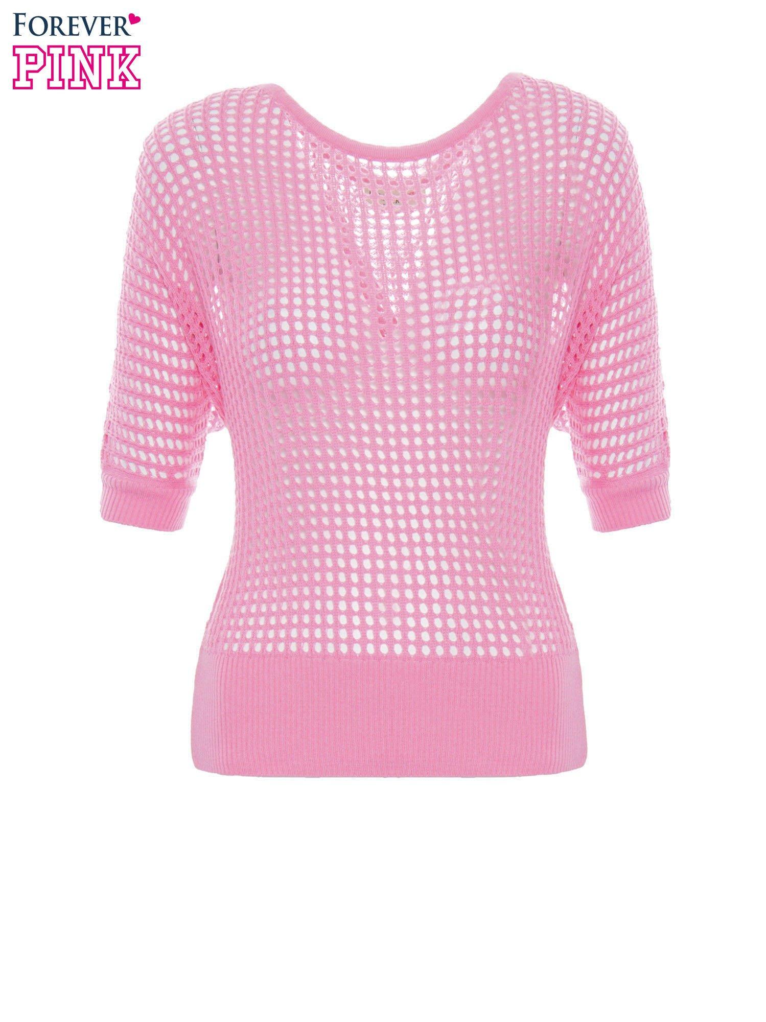 Różowy ażurowy sweter oversize                                  zdj.                                  6
