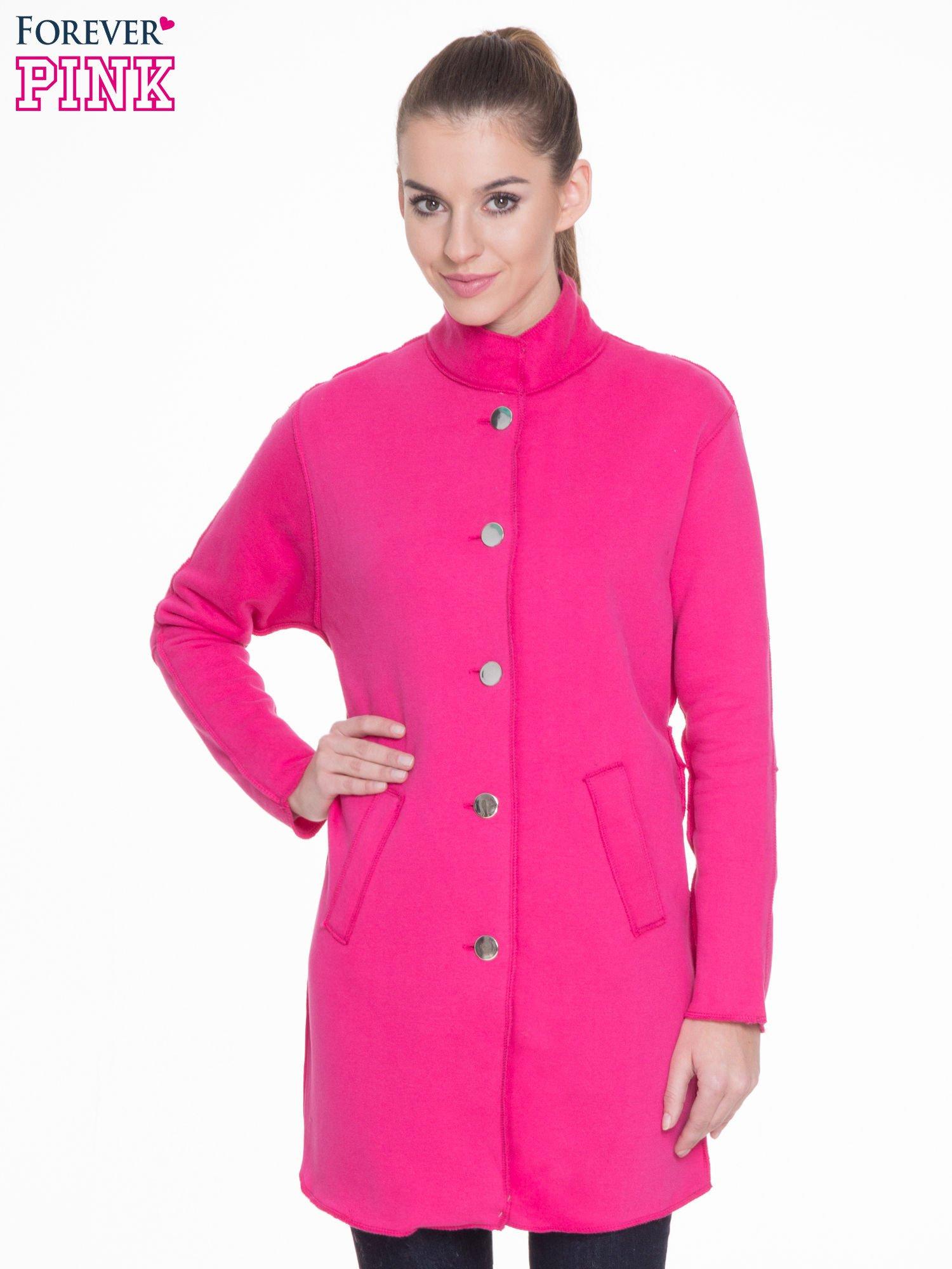 Różowy dresowy płaszcz o kroju oversize                                  zdj.                                  1