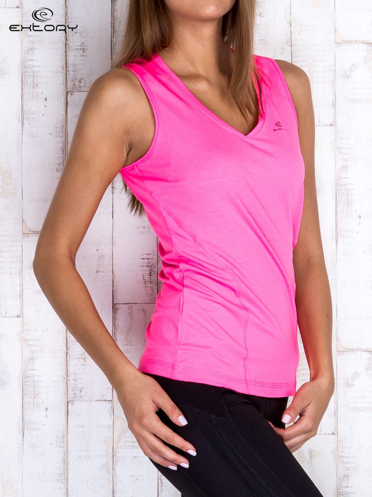 Różowy gładki sportowy top na szerokich ramiączkach                                  zdj.                                  3