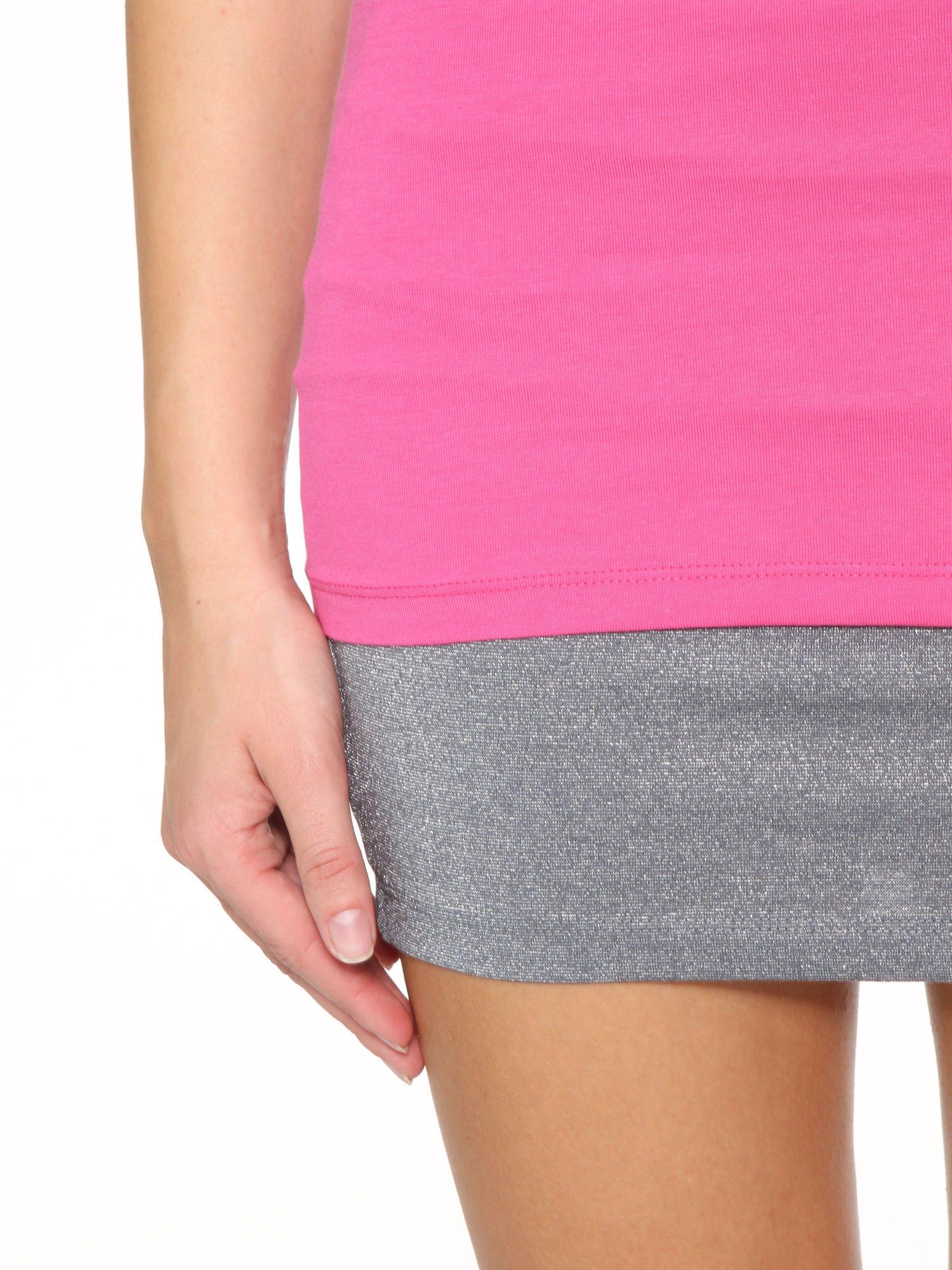 Różowy gładki top na szerokich ramiączkach                                  zdj.                                  7