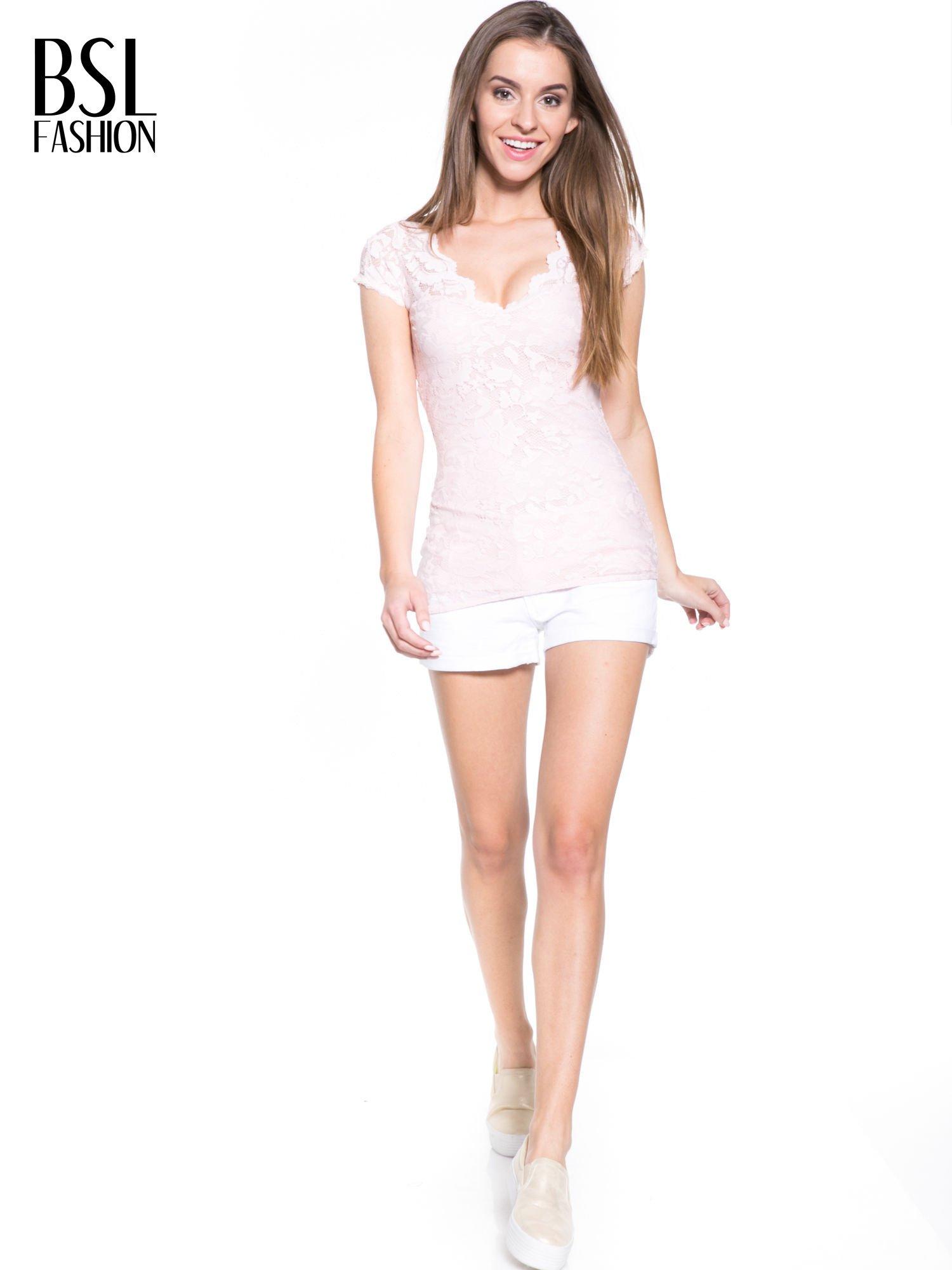 Różowy koronkowy t-shirt z głębokim dekoltem                                  zdj.                                  8