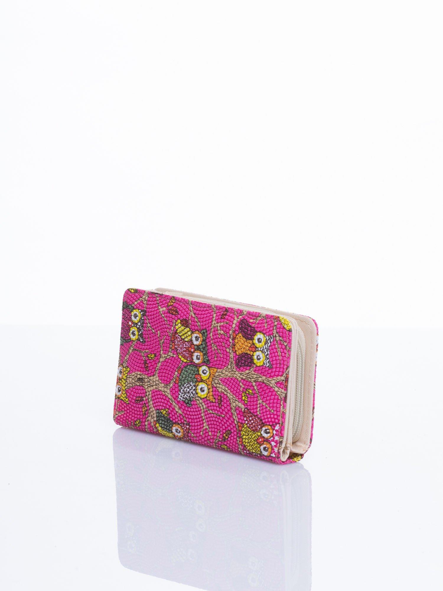 Różowy mini portfel w sówki                                  zdj.                                  2