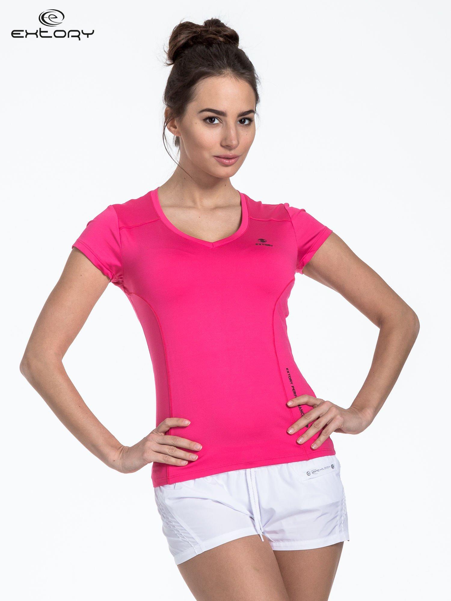 Różowy sportowy t-shirt z dekoltem U                                  zdj.                                  1