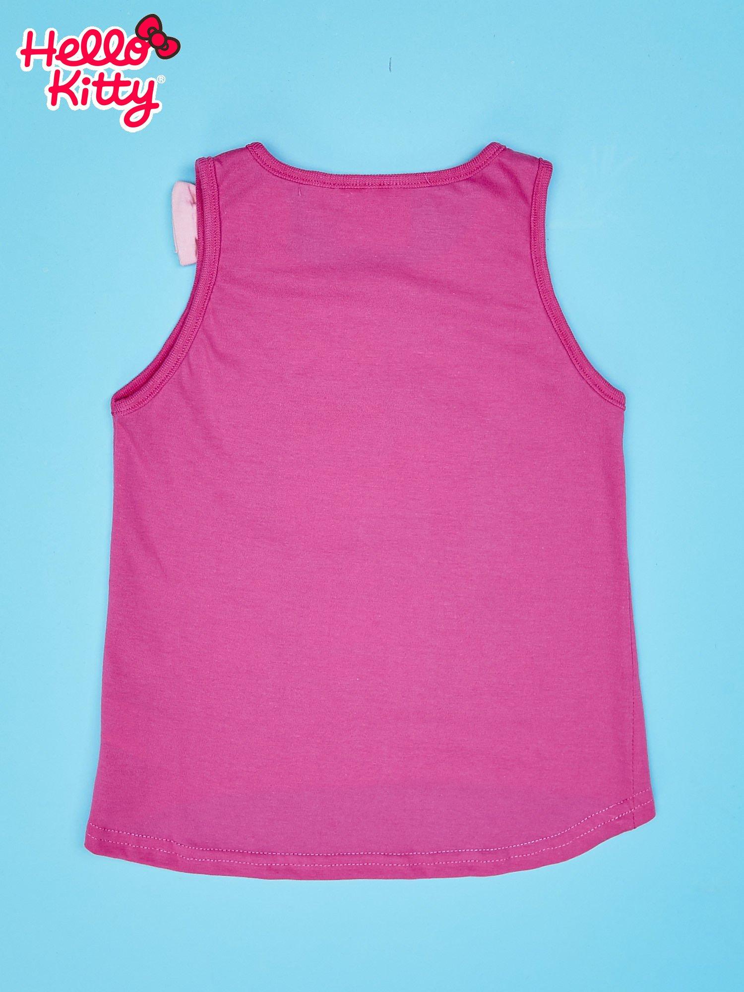 Różowy t-shirt dla dziewczynki bez rękawów HELLO KITTY                                  zdj.                                  2
