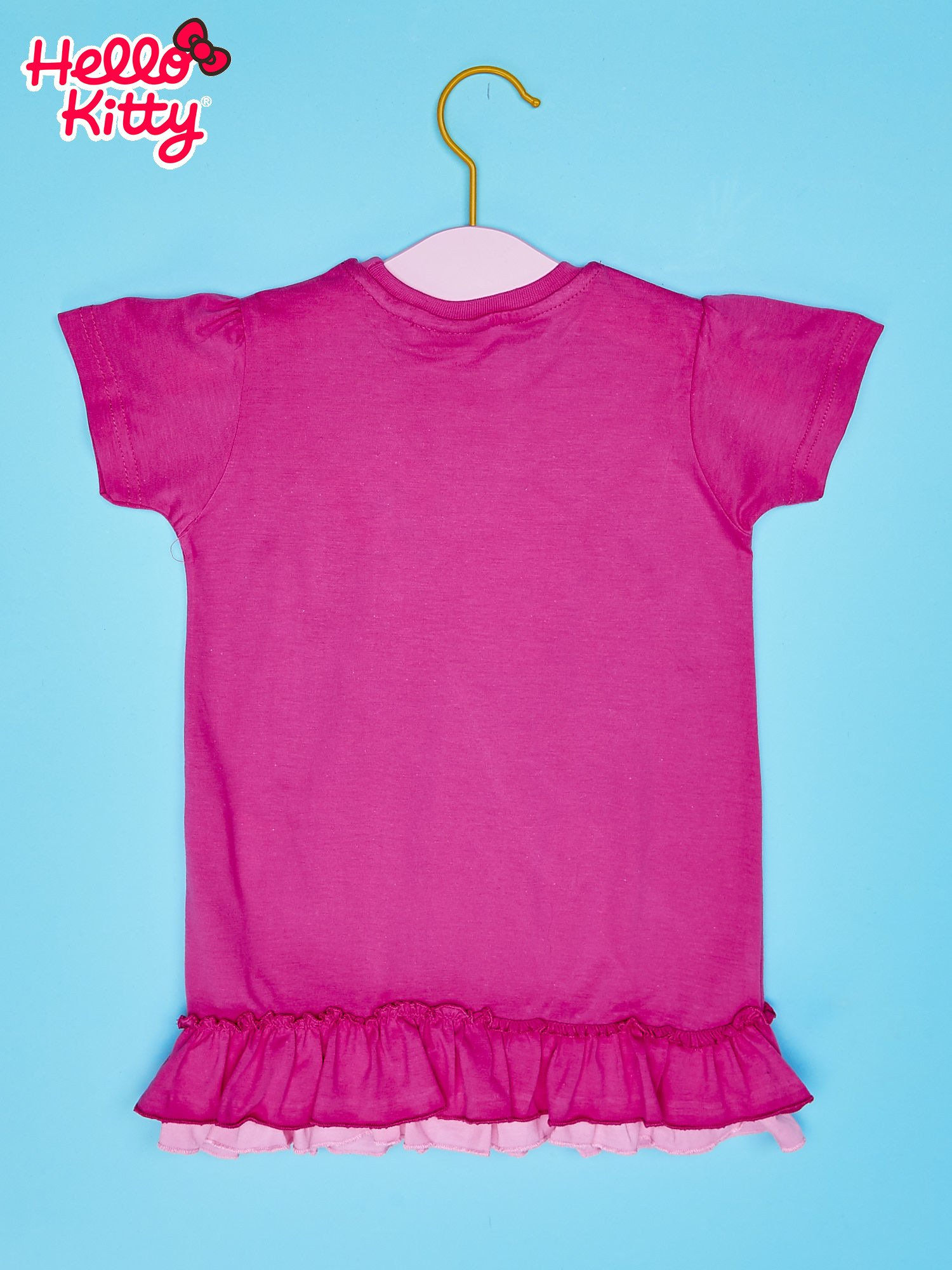 Różowy t-shirt dla dziewczynki z motywem HELLO KITTY                                  zdj.                                  2