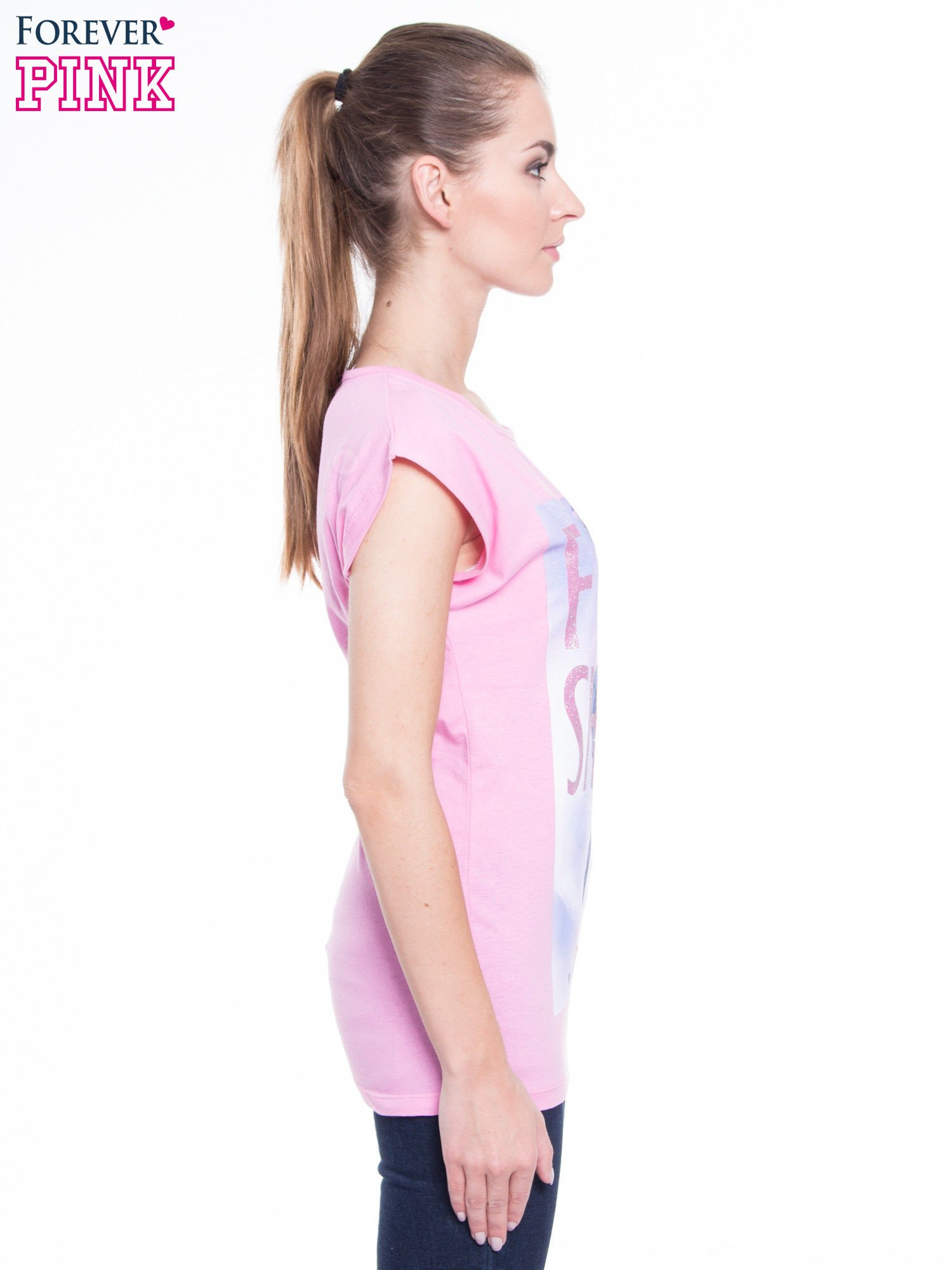 Różowy t-shirt z nadrukiem fashion                                  zdj.                                  2