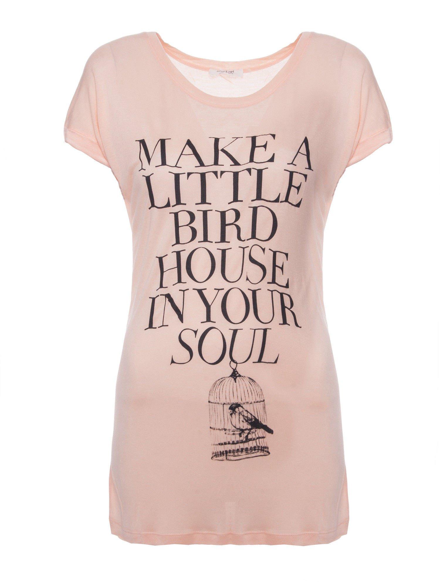 Różowy t-shirt z nadrukiem ptaszka w klatce                                  zdj.                                  1