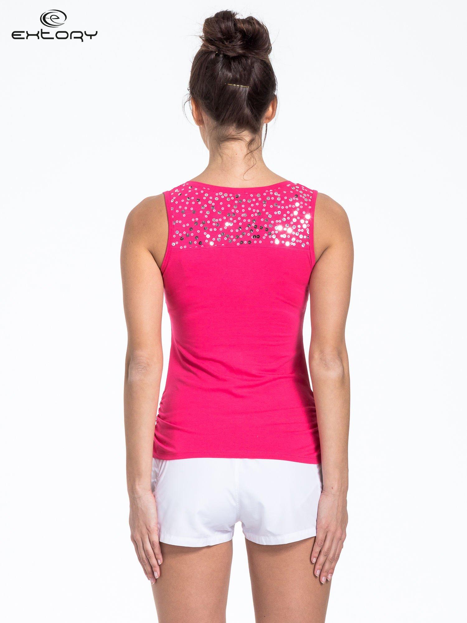 Różowy top sportowy z cekinami                                  zdj.                                  3