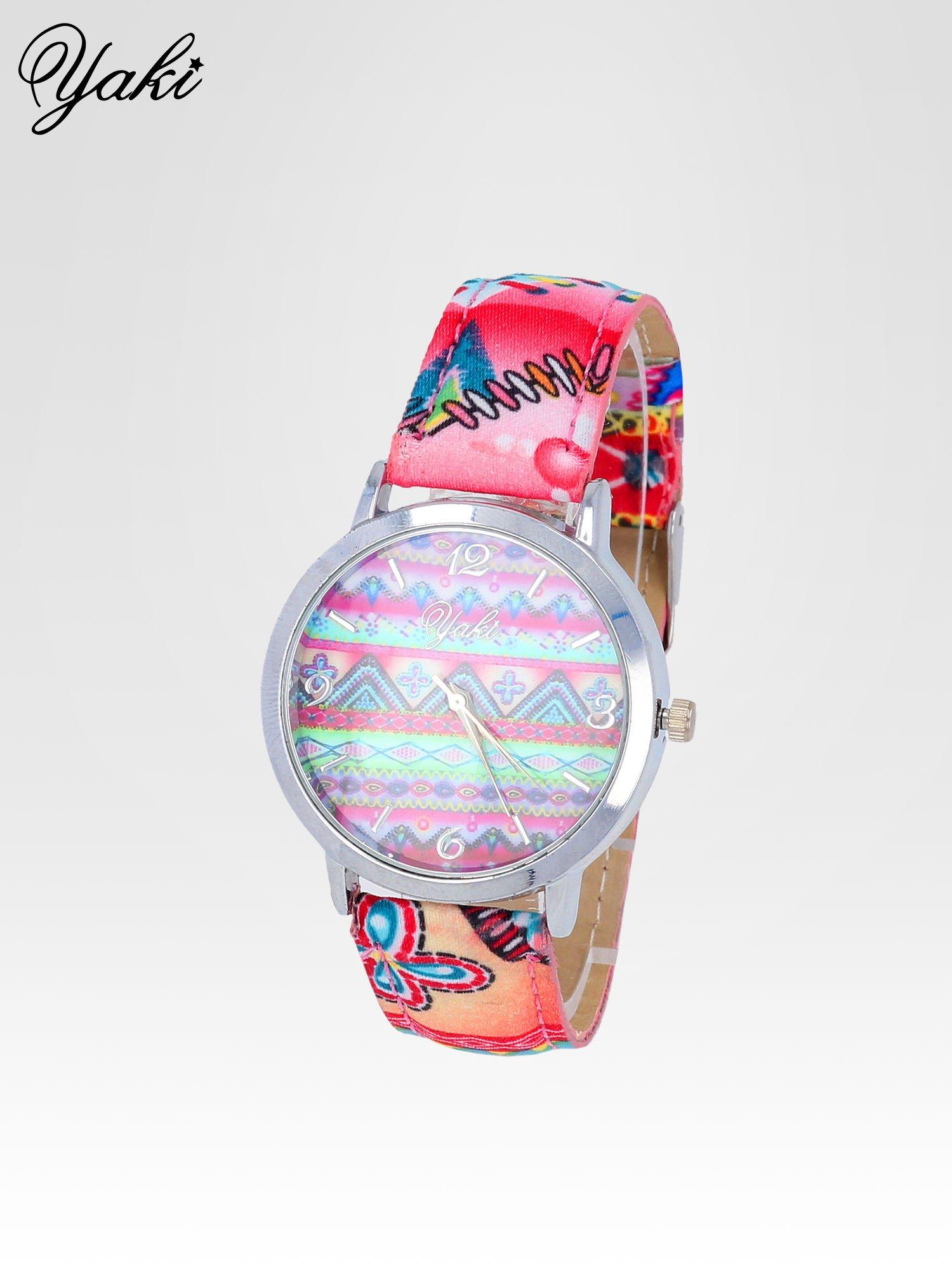 Różowy zegarek damski z motywem azteckim                                  zdj.                                  2