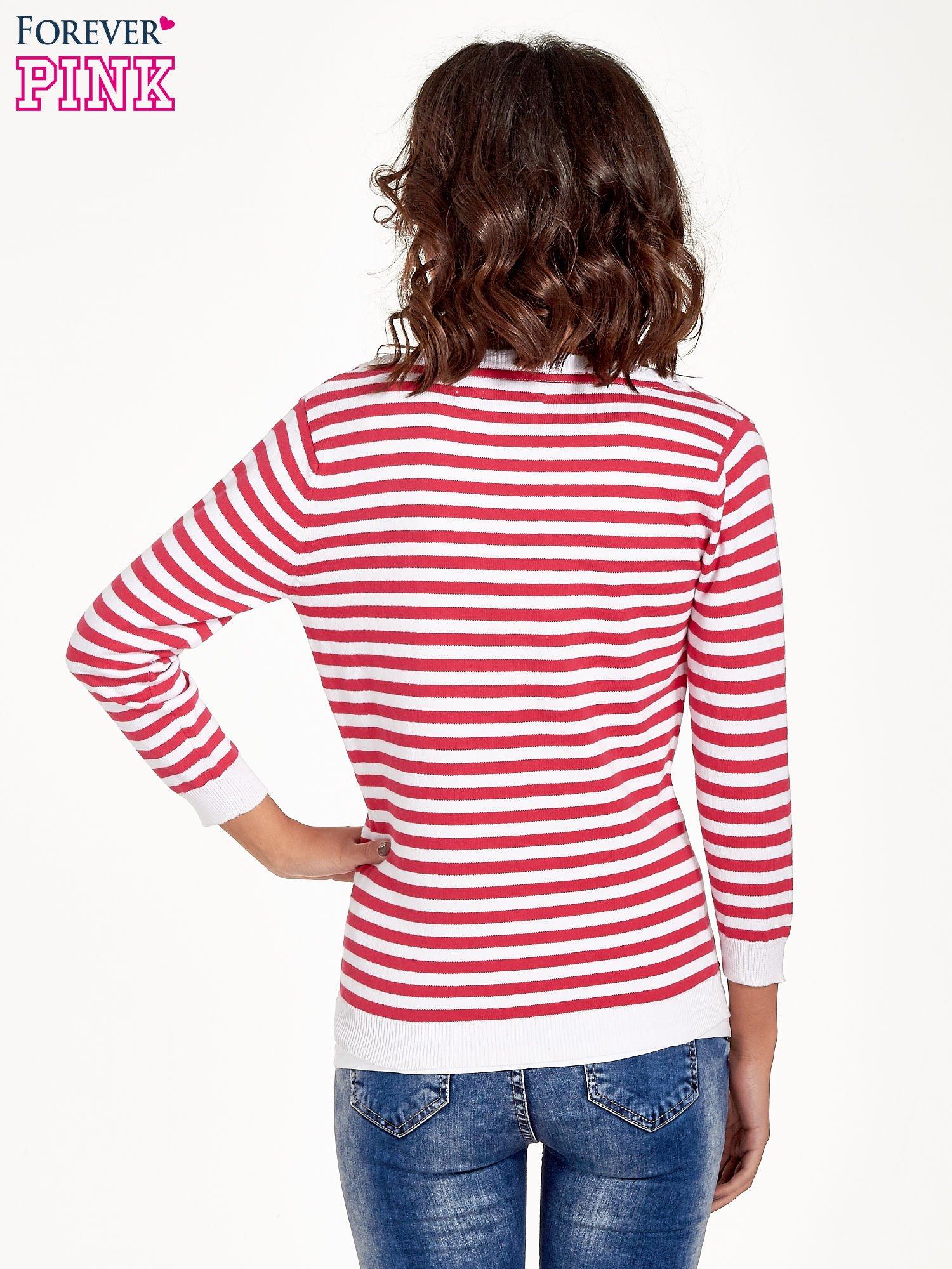 Rozpinany sweter w biało-czerwone paski z kieszonkami po bokach                                  zdj.                                  4