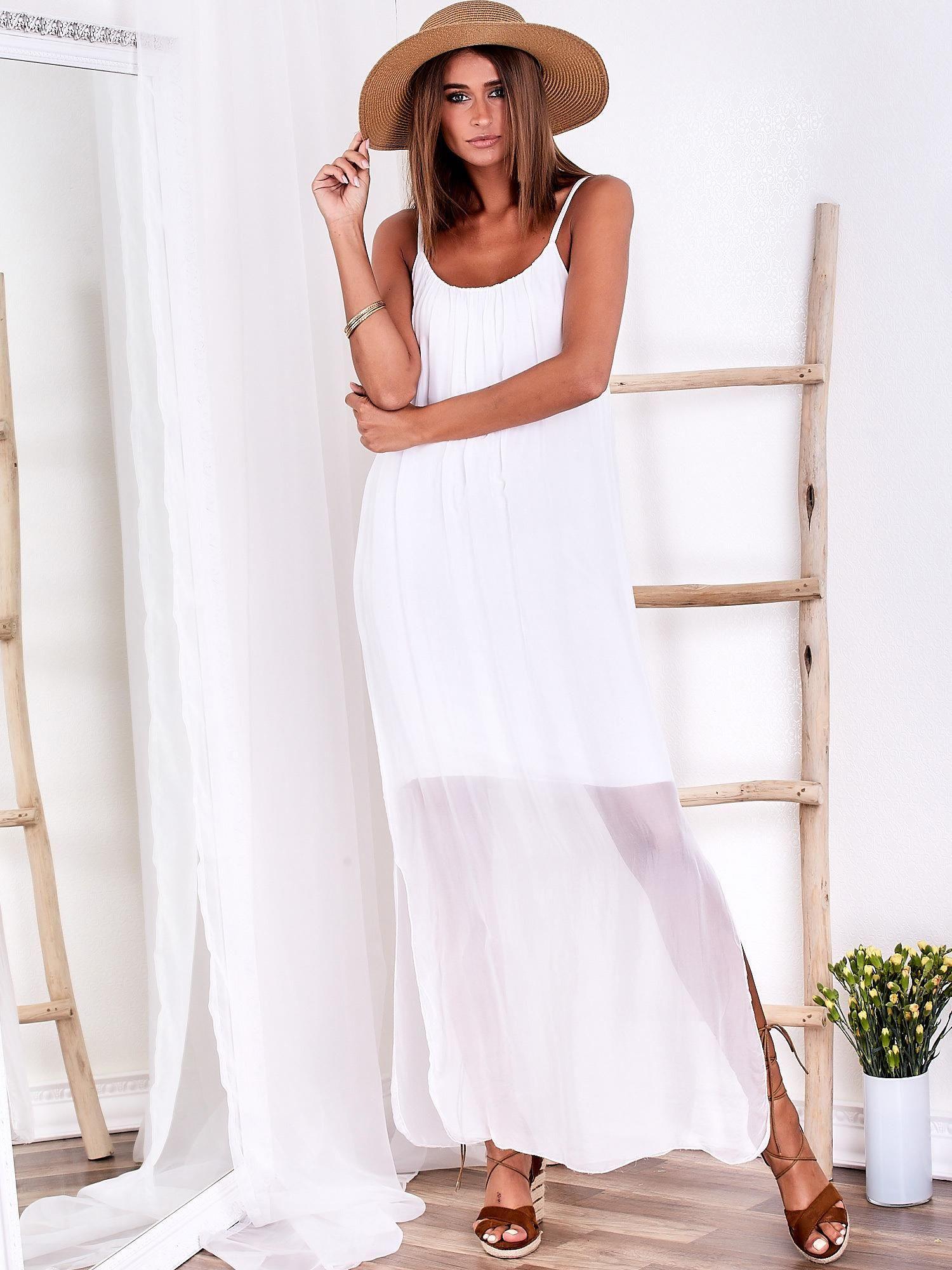 f83a6071146 Biała zwiewna sukienka maxi