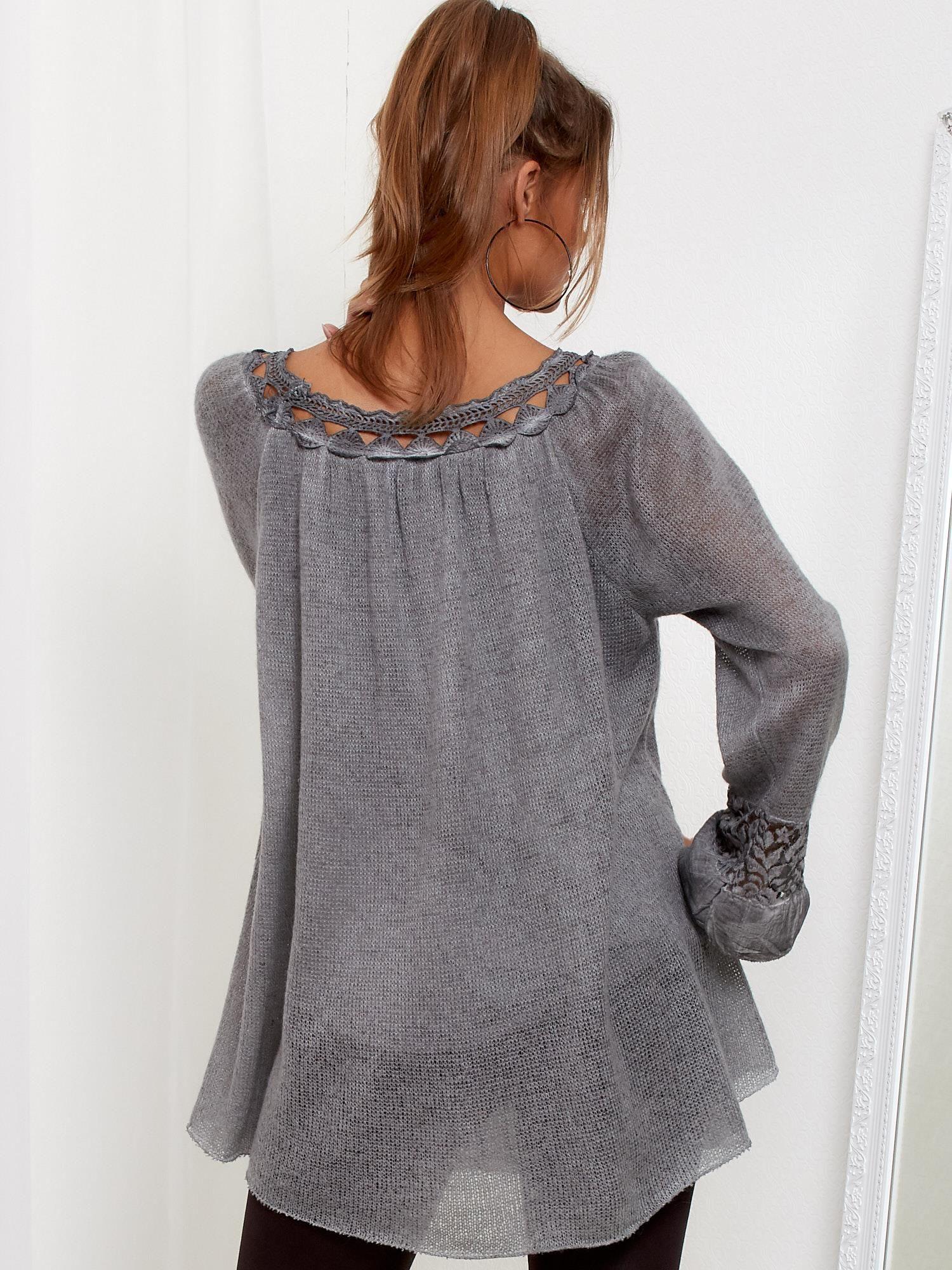 Zaawansowane Ciemnoszary dłuższy sweter z cekinami i koronką - Sweter oversize HL88