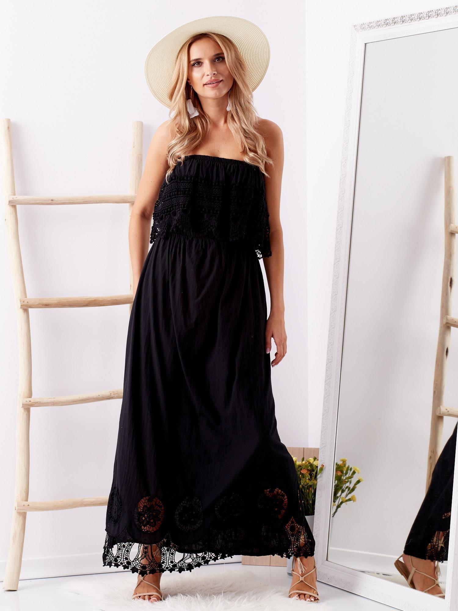 192a494b0aa8 Czarna sukienka maxi z dekoltem carmen - Sukienka hiszpanka - sklep ...