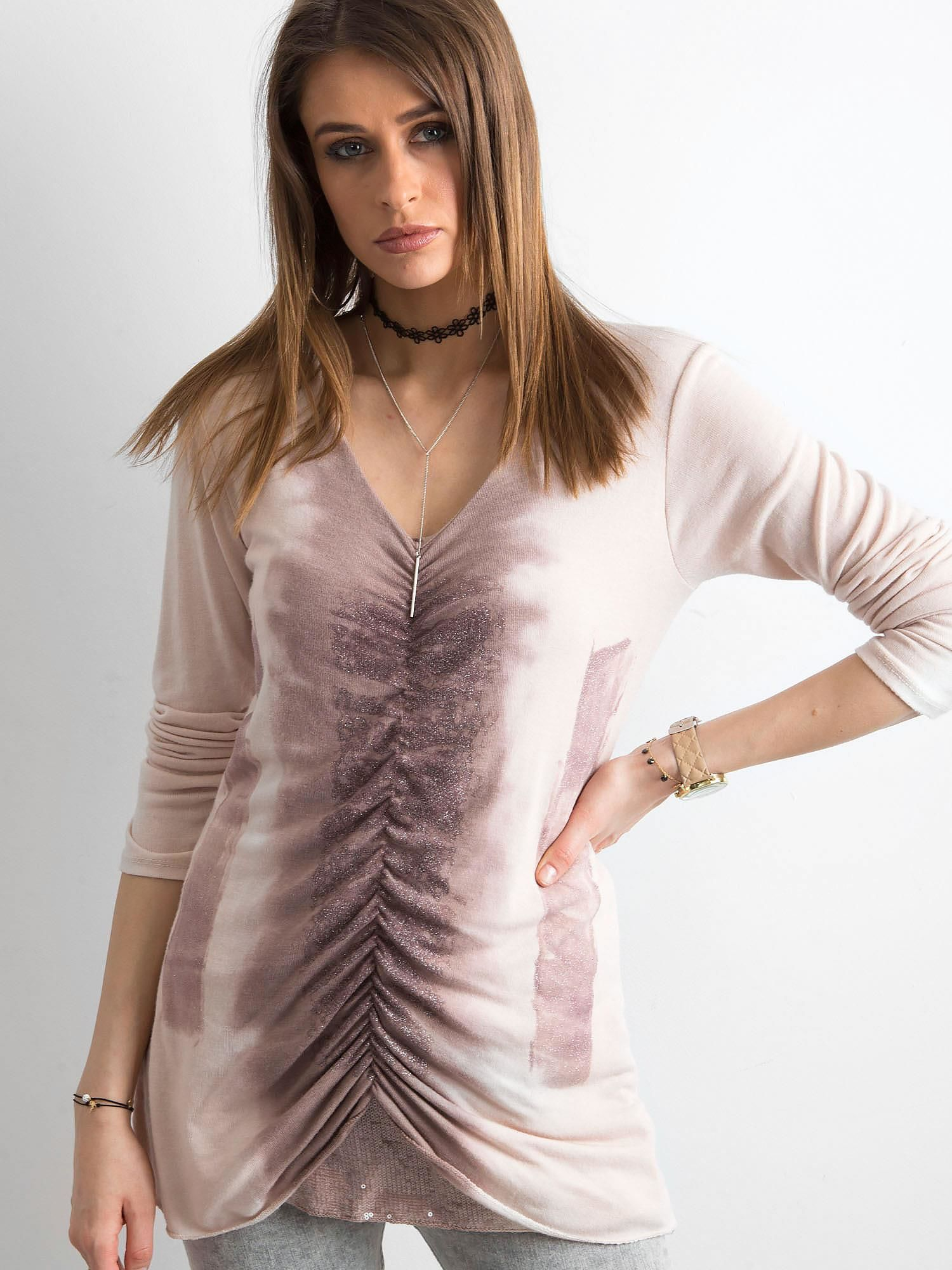 42bf9d6a110345 Różowy cienki sweter z błyszczącymi drobinkami - Sweter klasyczny ...
