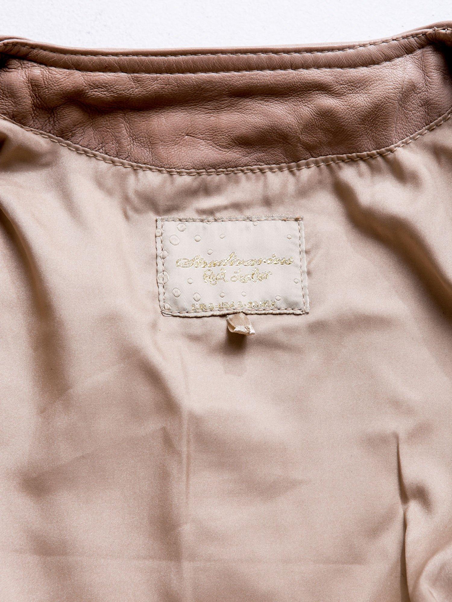 STRADIVARIUS  Beżowa skórzana kurtka z kieszonkami                                  zdj.                                  3