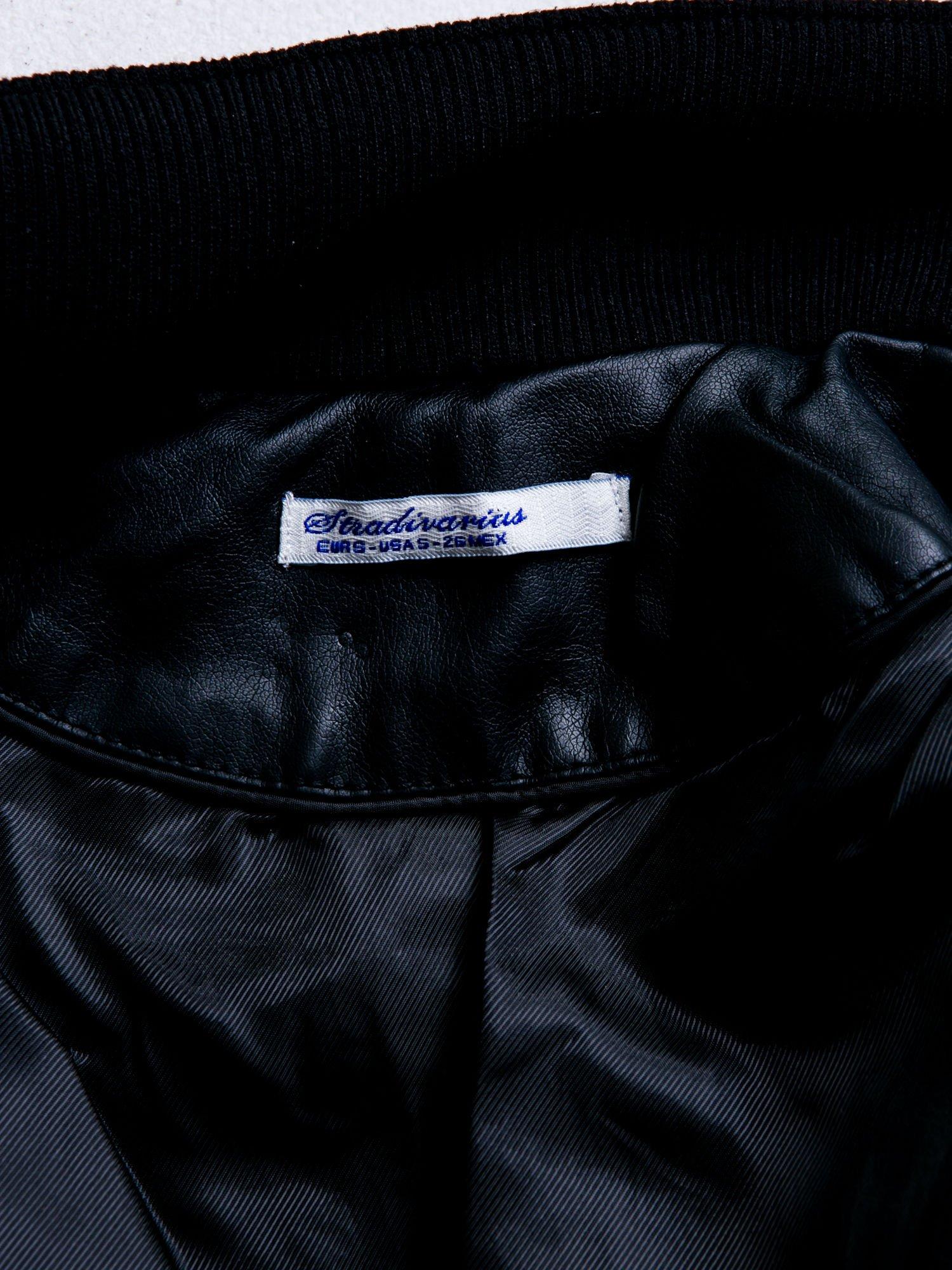 STRADIVARIUS  Czarna skórzana kurtka typu ramoneska                                  zdj.                                  3