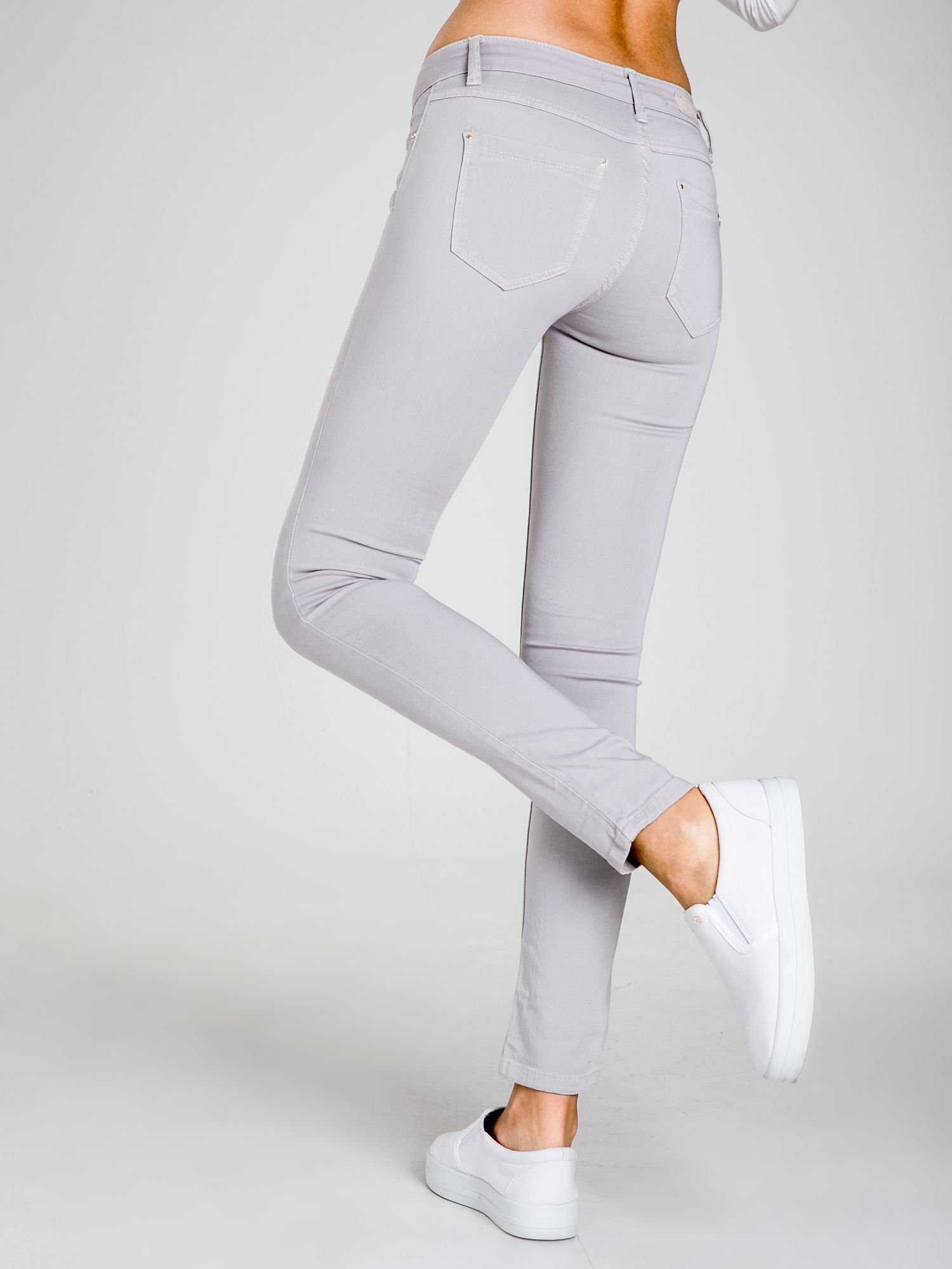 STRADIVARIUS Szare spodnie skinny typu rurki                                  zdj.                                  2