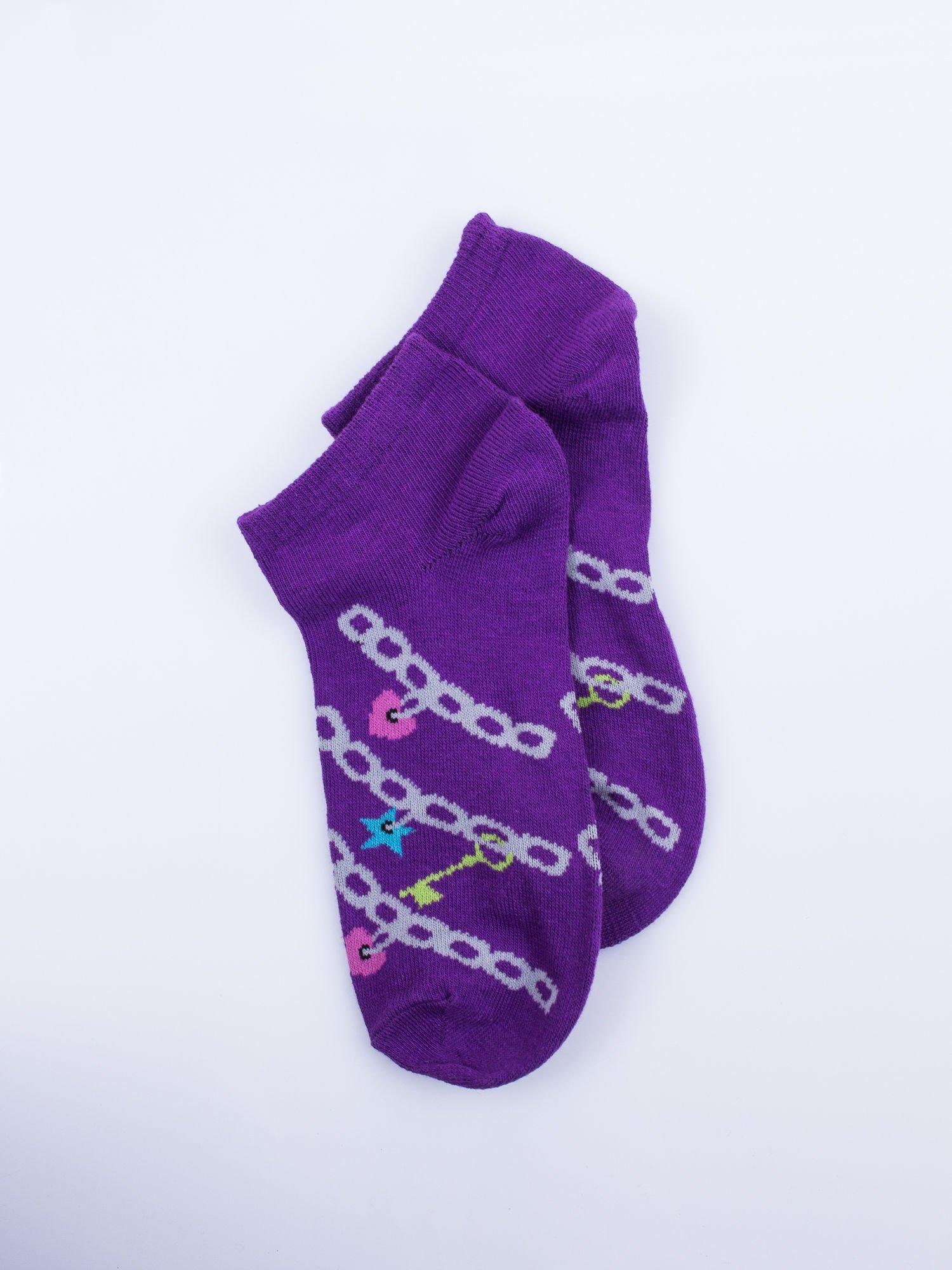 Skarpetki damskie stopki fiolet-biały dziewczęce zestaw 2 pary                                  zdj.                                  3