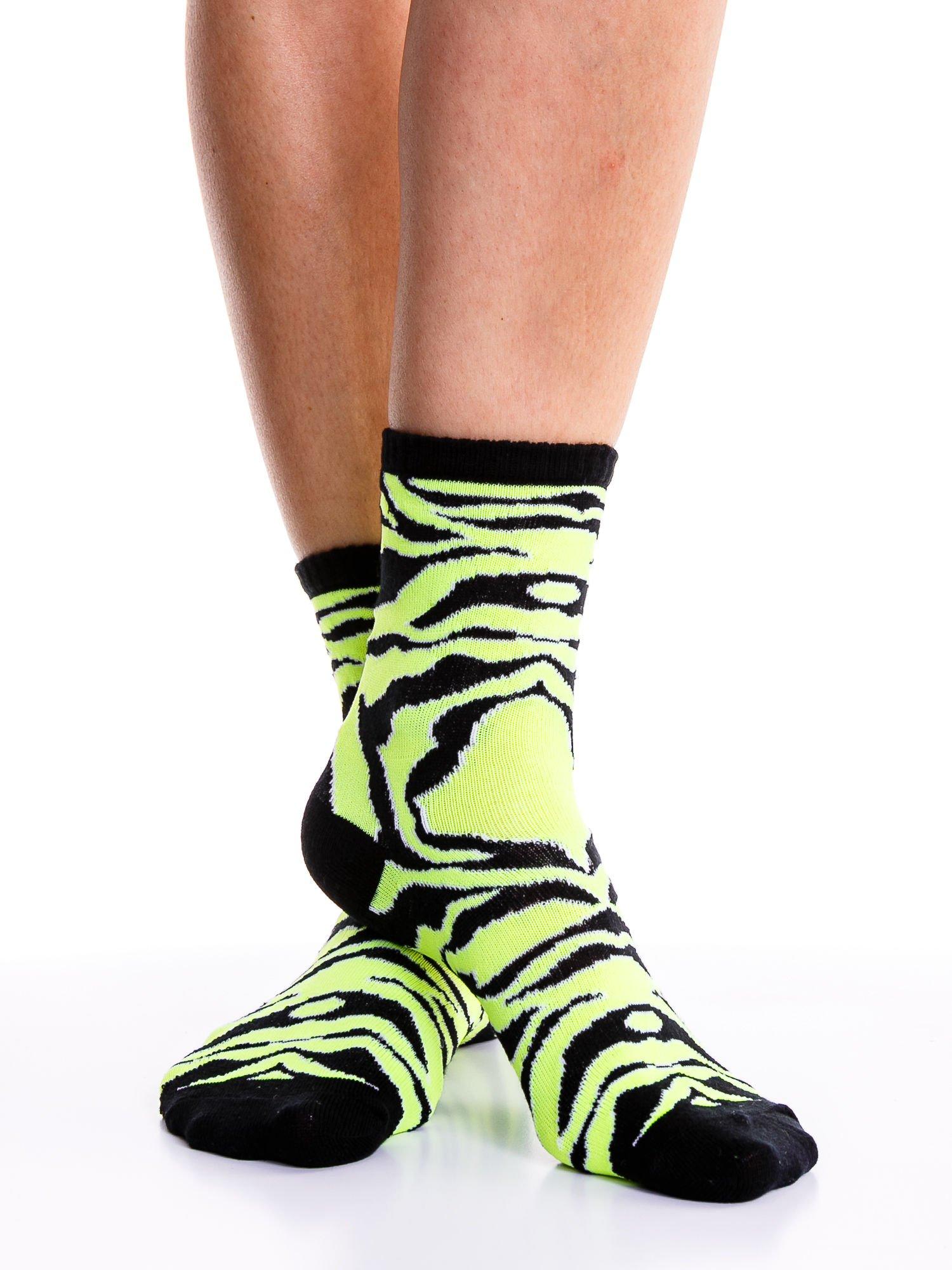 Skarpetki damskie zielona zebra-czarny zestaw 2 pary                                  zdj.                                  2
