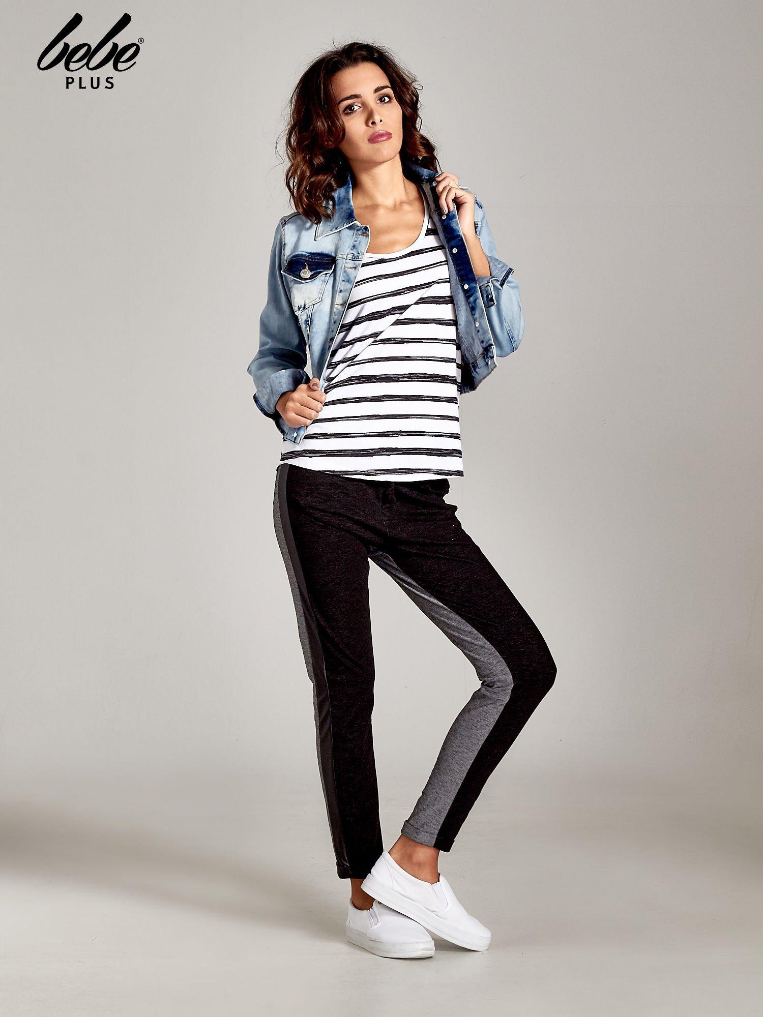 Spodnie two tone ze skórzanymi wstawkami                                  zdj.                                  2
